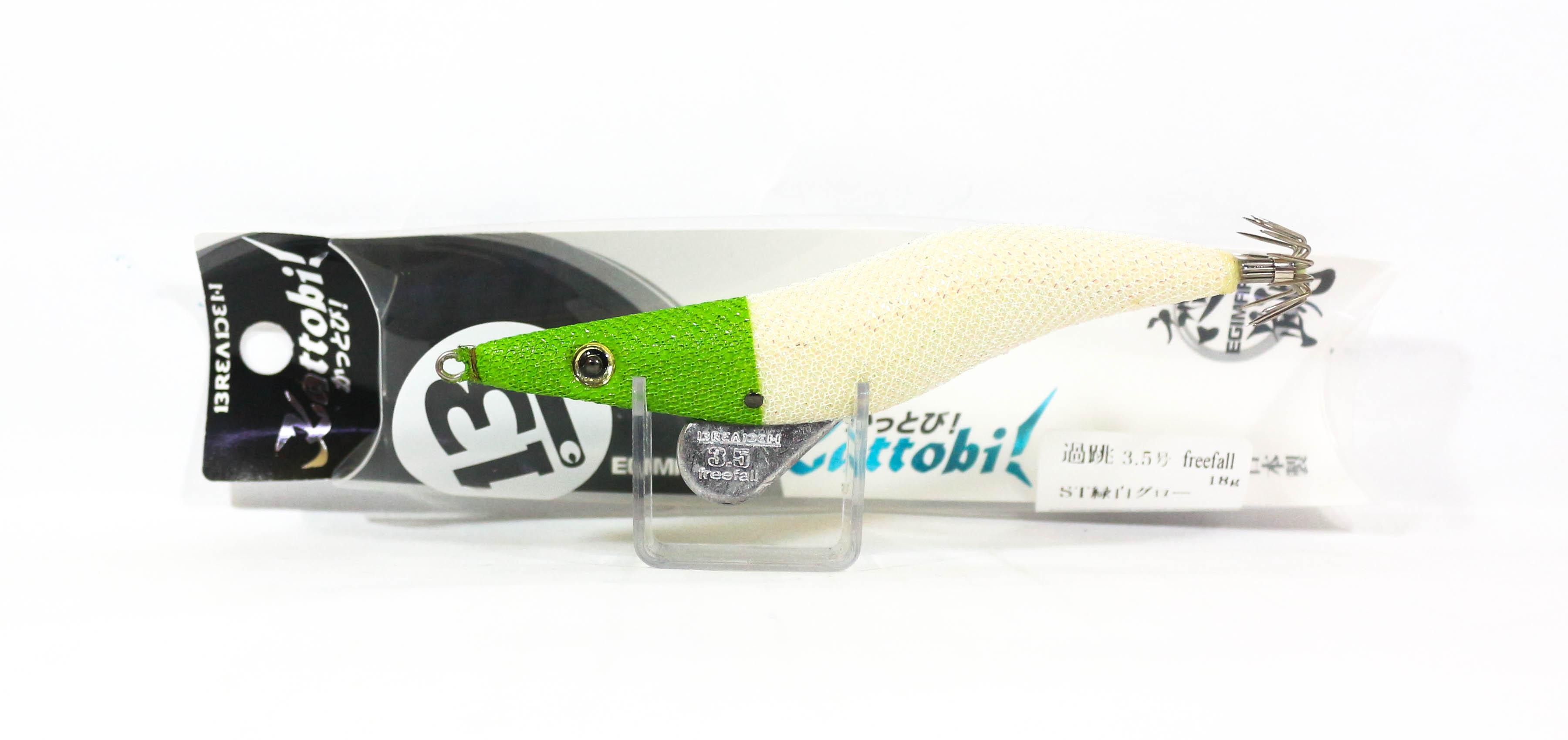 Breaden Egimaru Kattobi Squid Jig Sinking Lure 3.5F 23ST Green White Glow (6792)