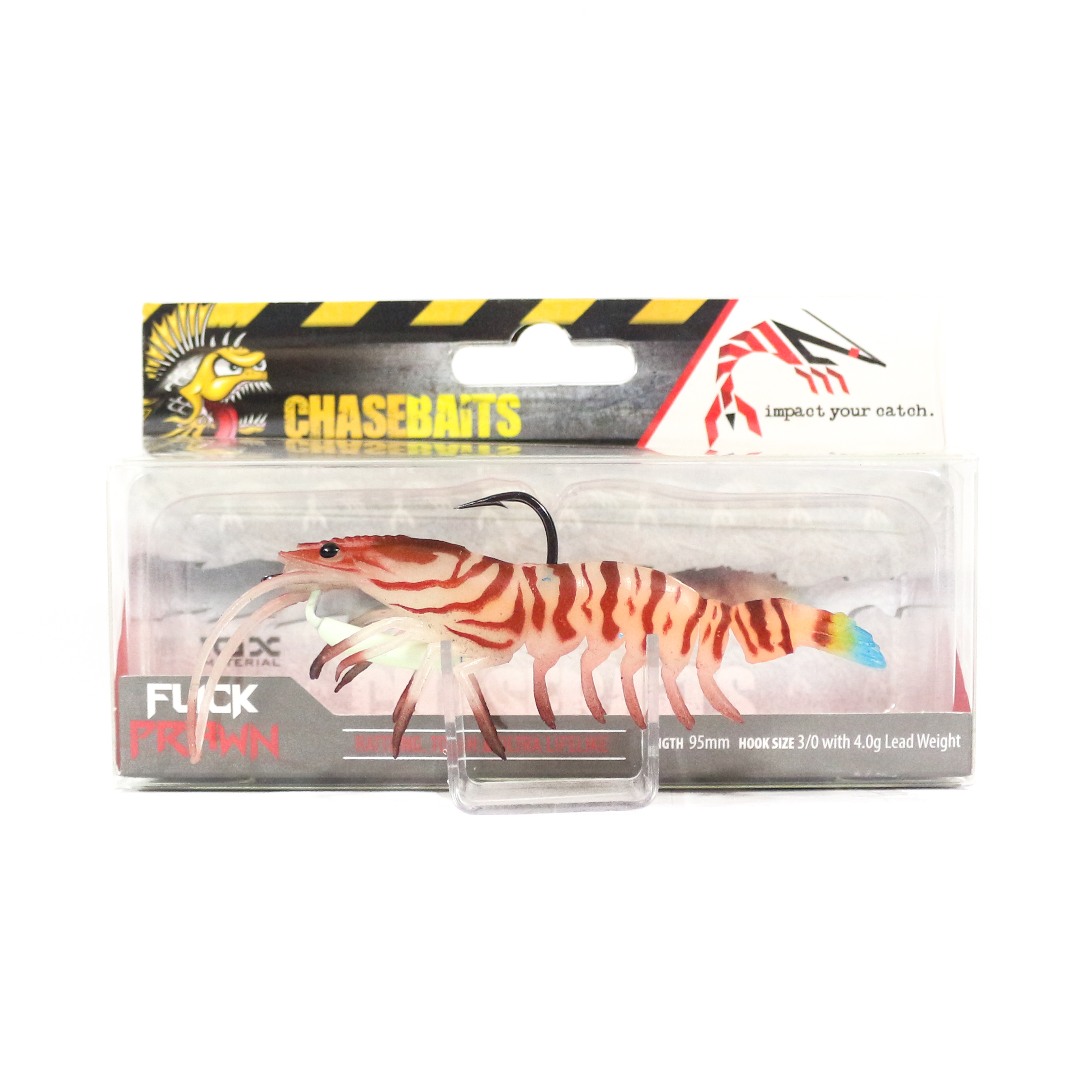 Chase Baits Soft Lure Flick Prawn 95 mm Tiger Prawn (4857)