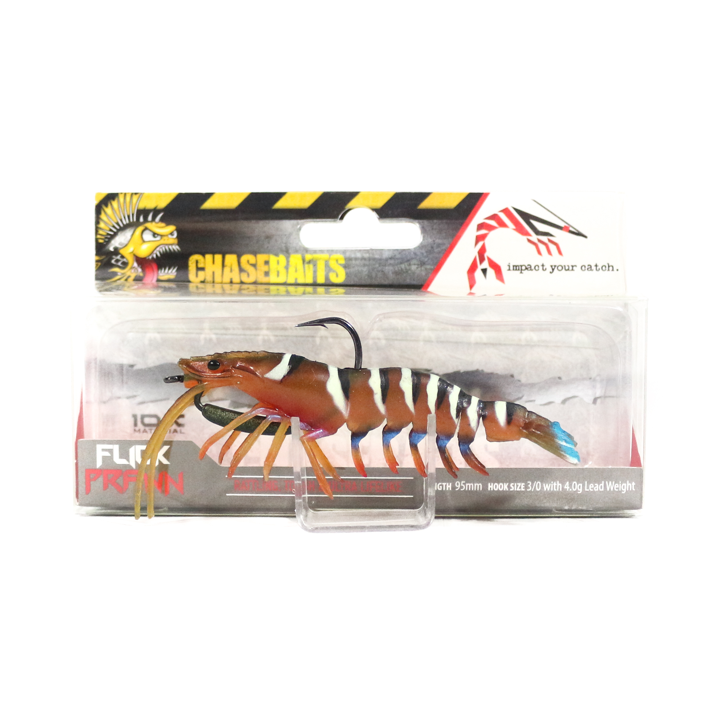 Chase Baits Soft Lure Flick Prawn 95 mm Green Prawn (4871)