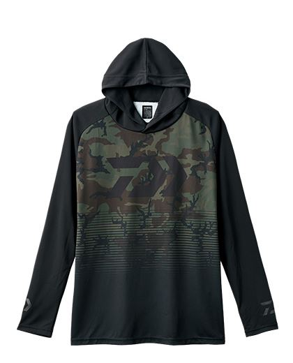 Daiwa De-34008 Hood Shirt Long Sleeve Green Camo Size L (4214)