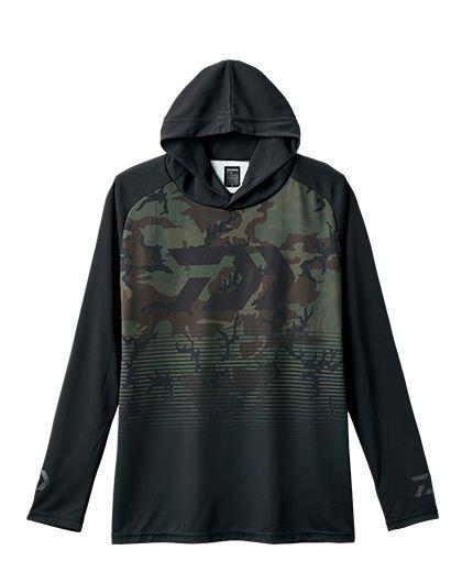 Sale Daiwa De-34008 Hood Shirt Long Sleeve Green Camo Size L (4214)