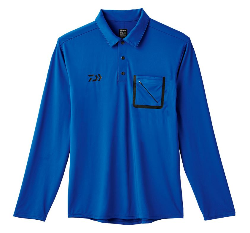 Daiwa De-69008 Polo Shirt Long Sleeve Blue Size L (1112)