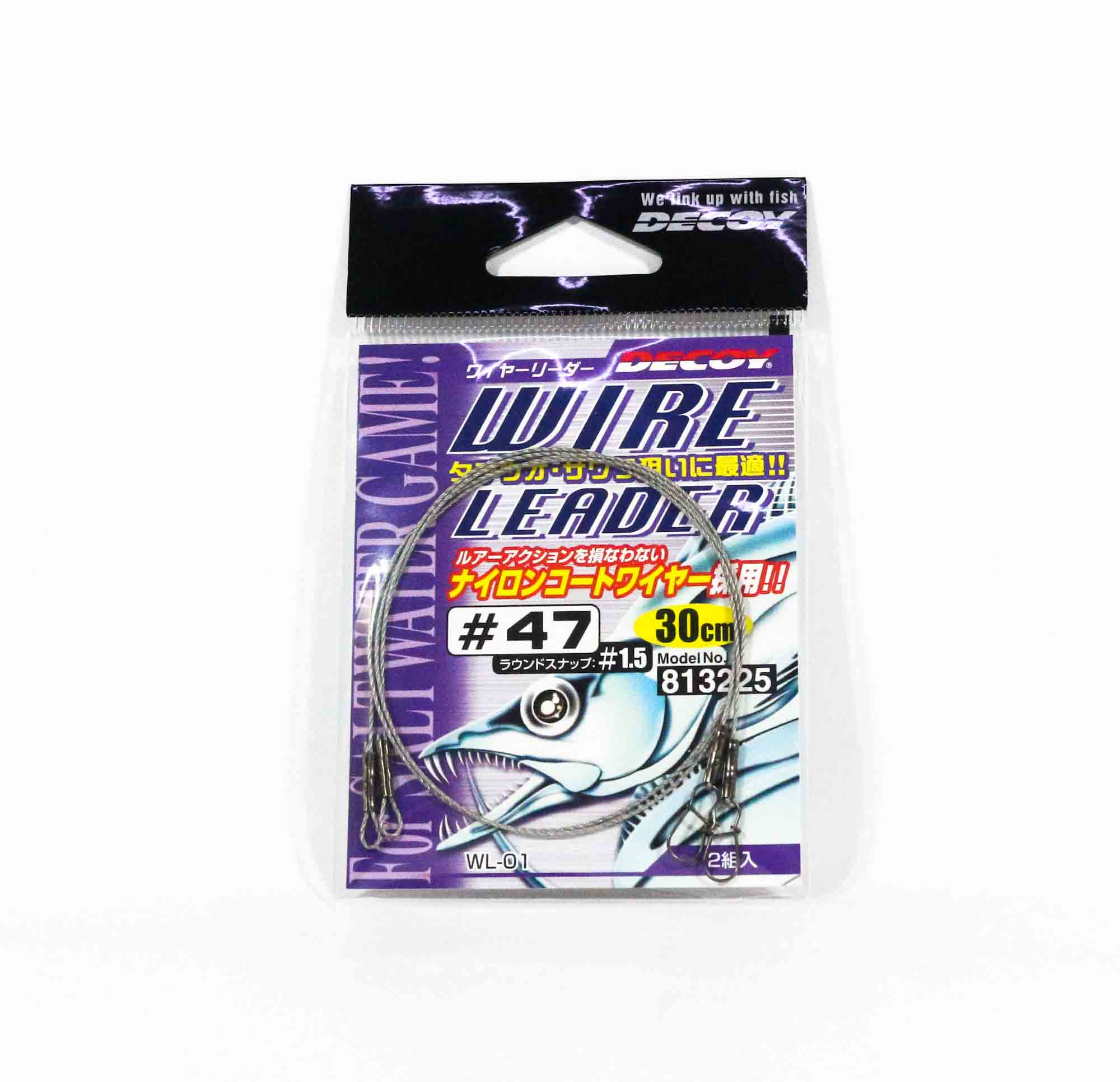 Decoy WL-01 47-30 cm Nylon Coated Wire Leader Size 1.5 Snap (3225)