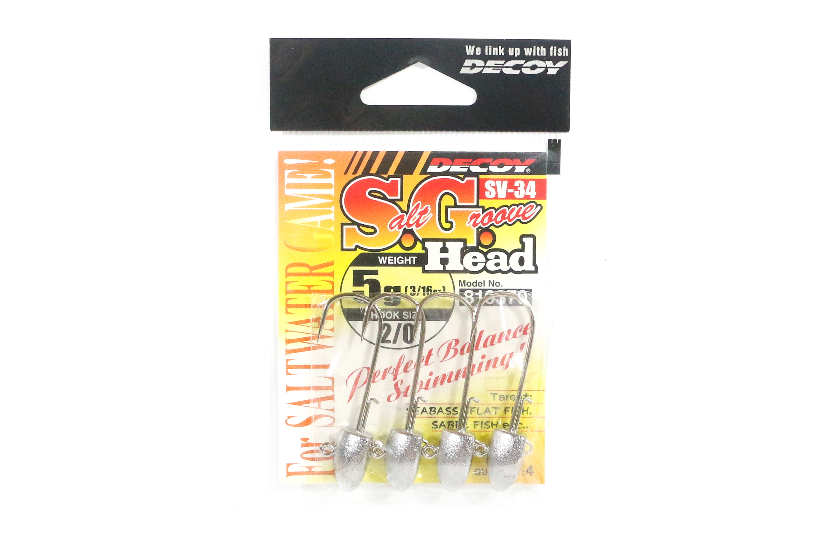 Decoy SV-34 Jig Head Salt Groove S.G Head Size 2/0 , 5 grams (6370)