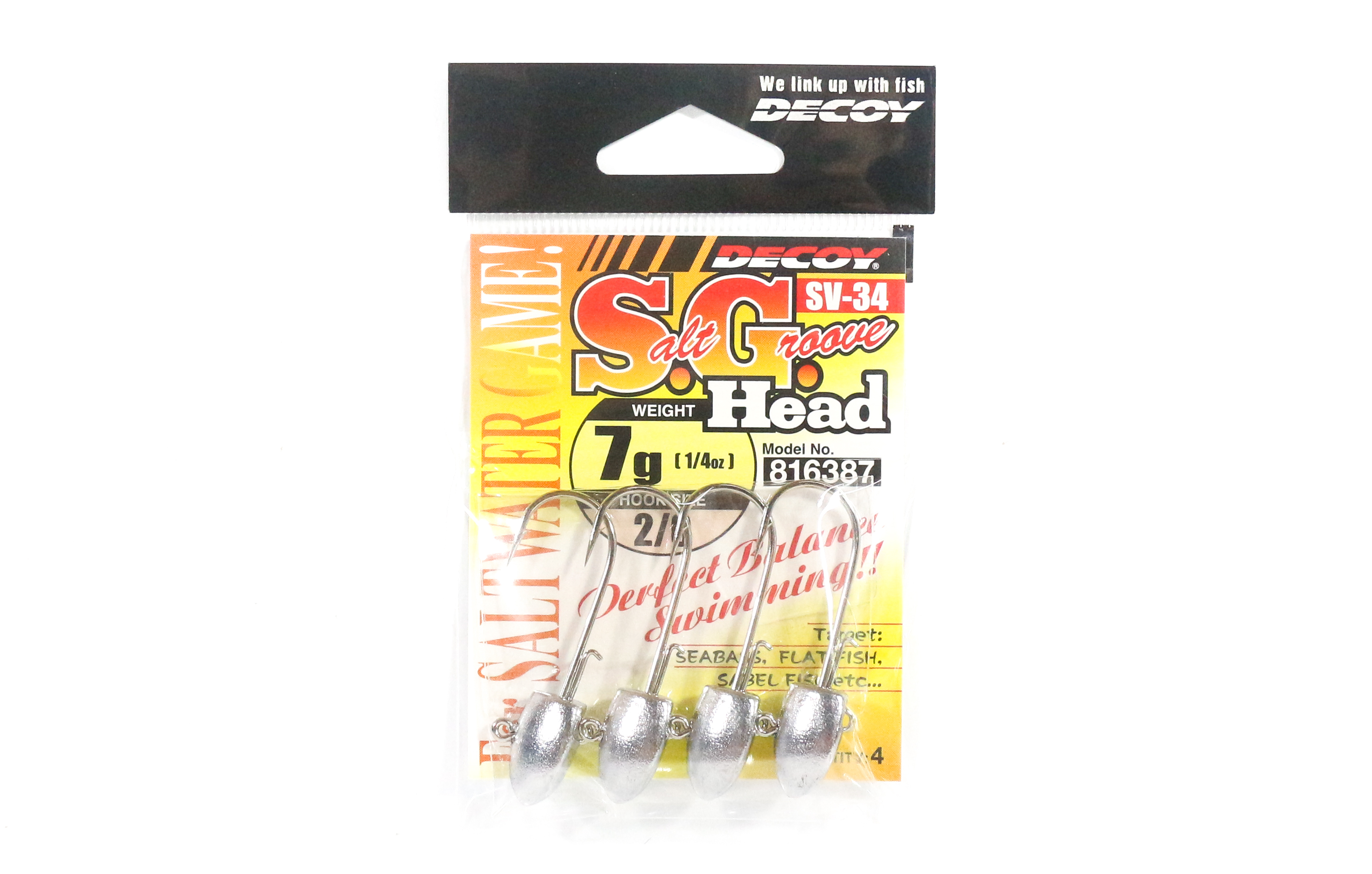 Decoy SV-34 Jig Head Salt Groove S.G Head Size 2/0 , 7 grams (6387)