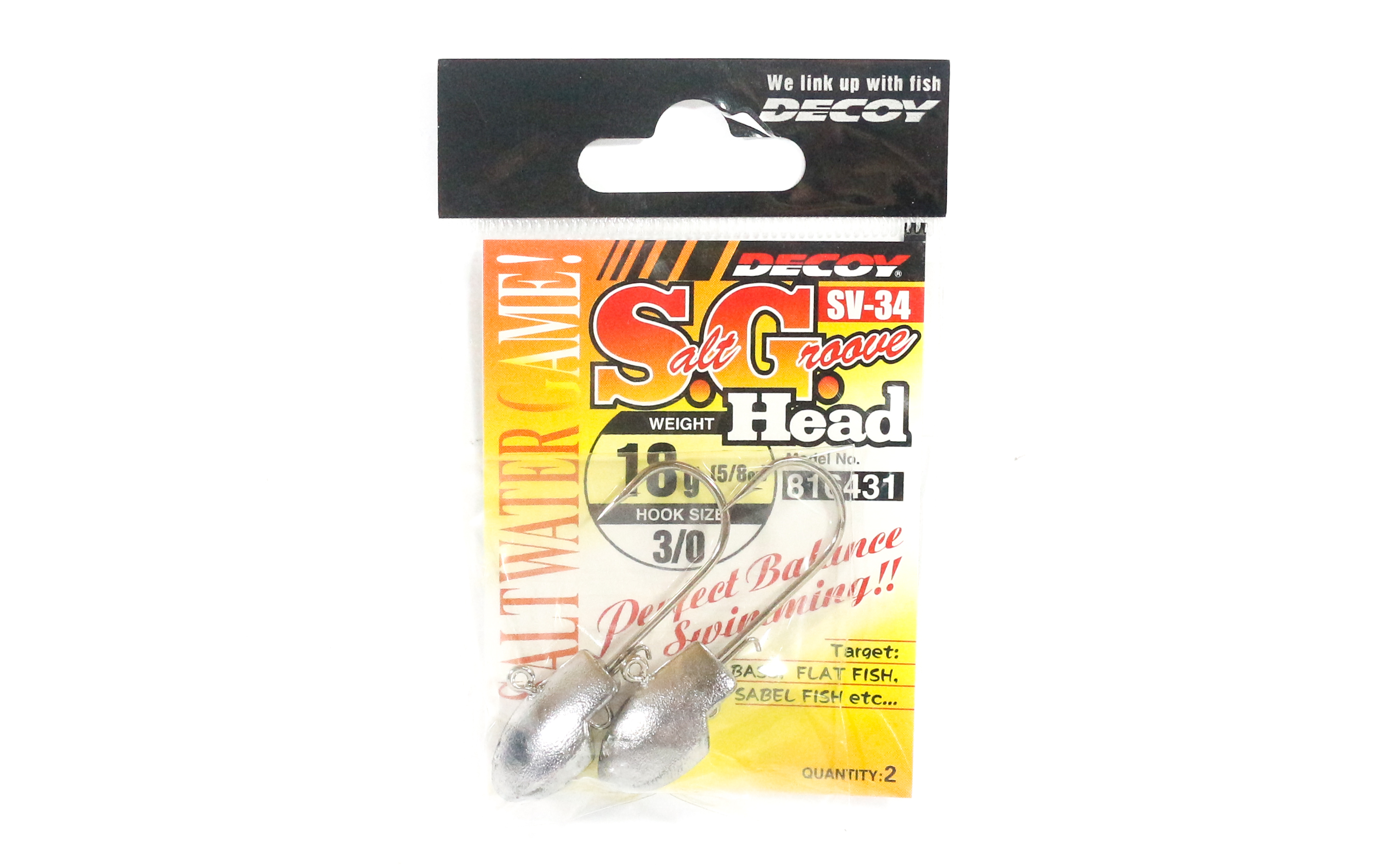 Decoy SV-34 Jig Head Salt Groove S.G Head Size 3/0 , 18 grams (6431)