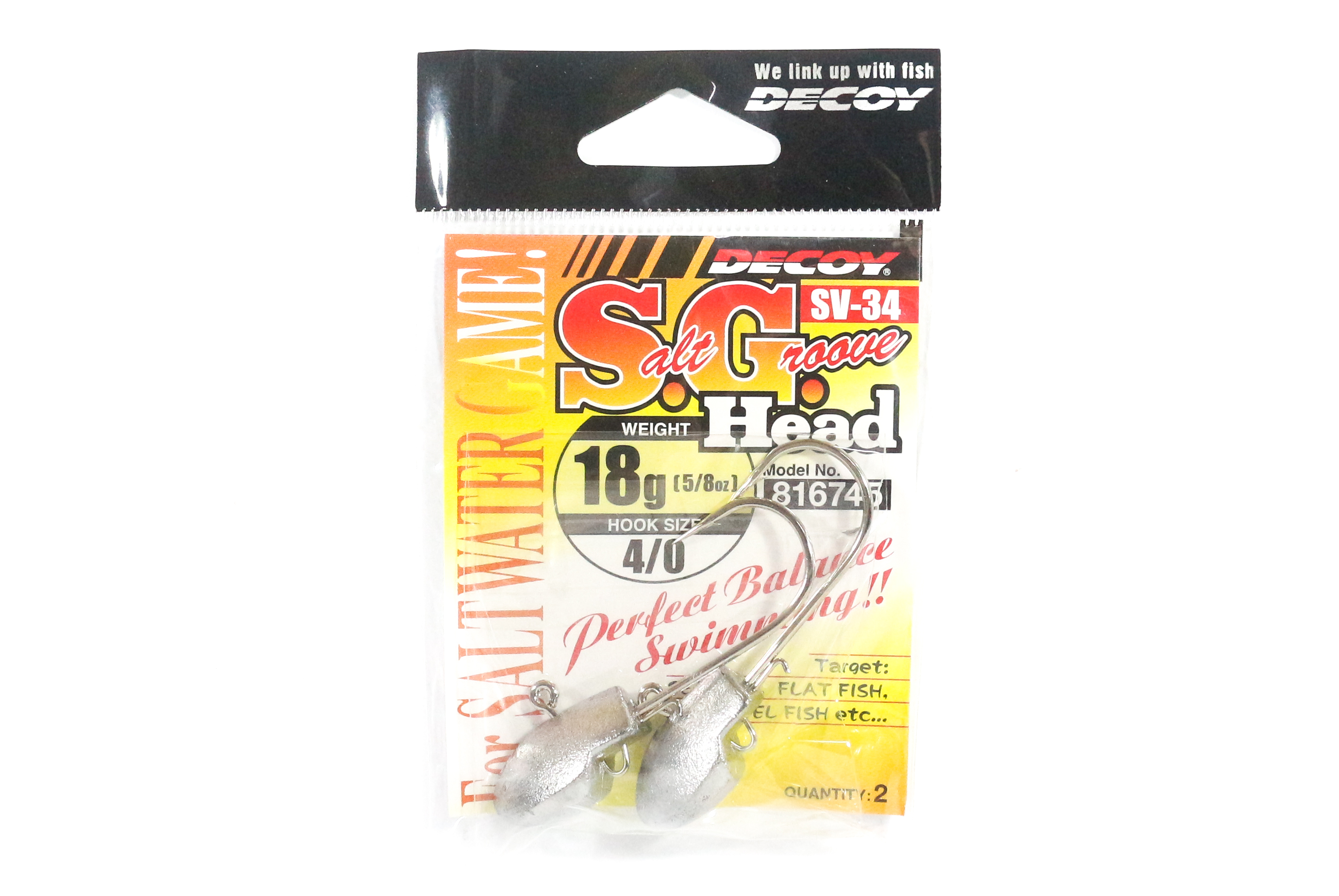 Decoy SV-34 Jig Head Salt Groove S.G Head Size 4/0 , 18 grams (6745)