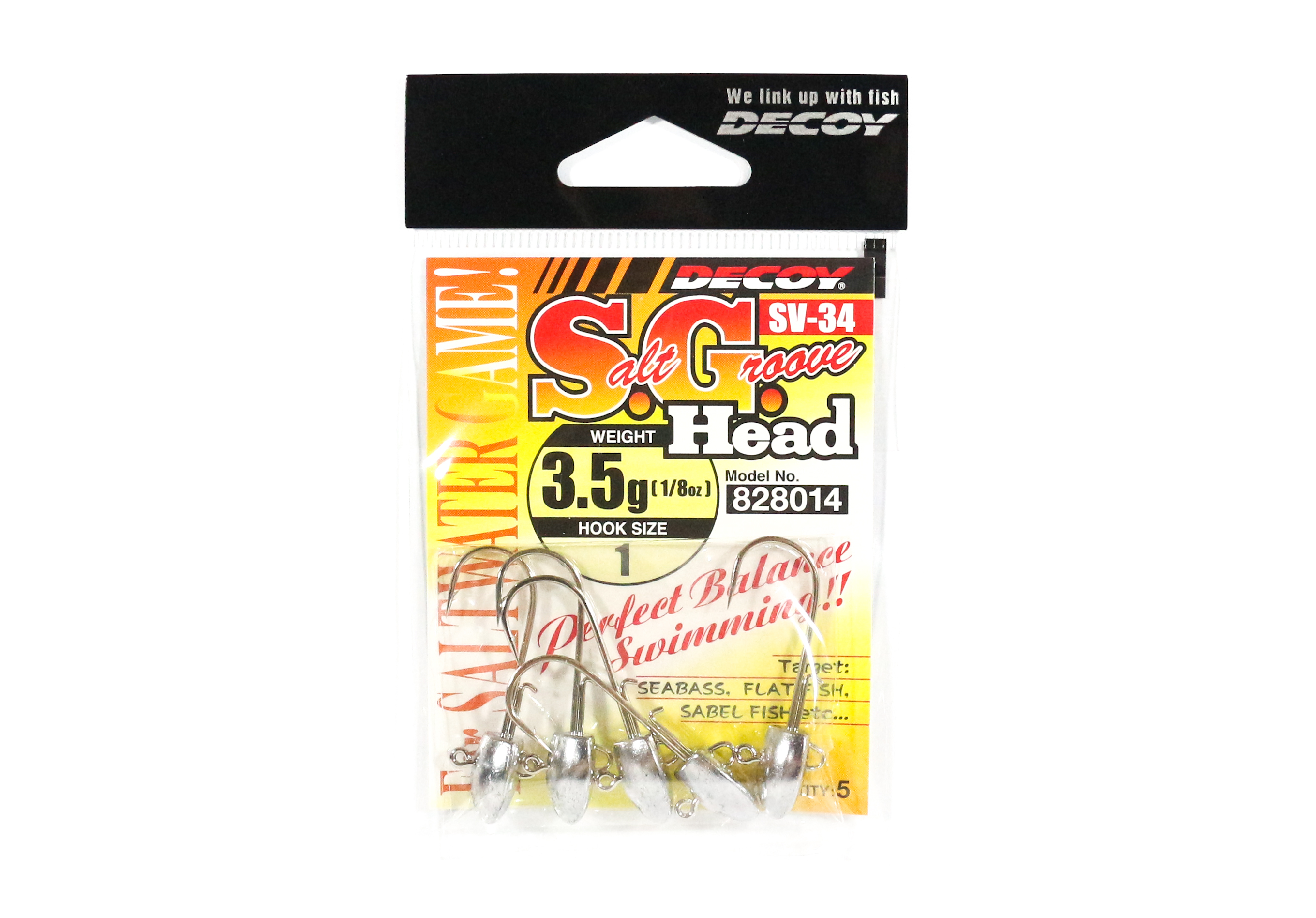Decoy SV-34 Jig Head Salt Groove S.G Head Size 1 , 3.5 grams (8014)