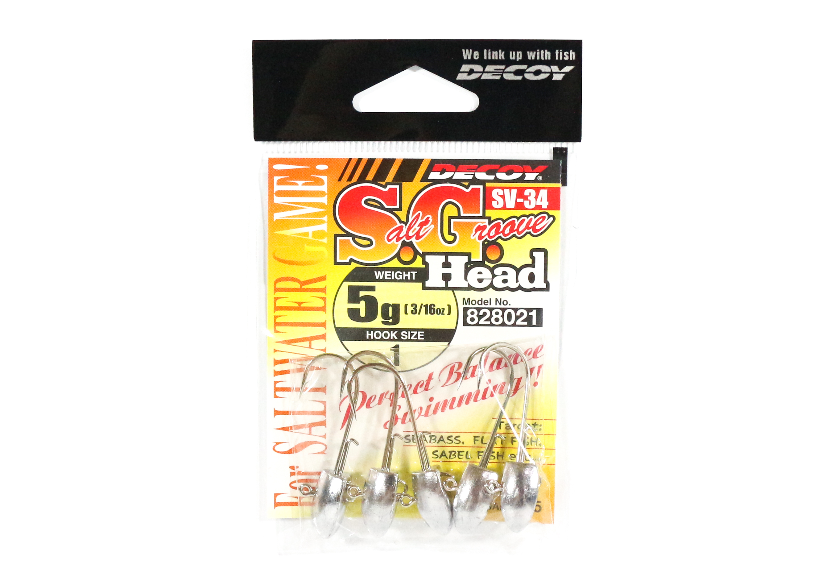 Decoy SV-34 Jig Head Salt Groove S.G Head Size 1 , 5 grams (8021)