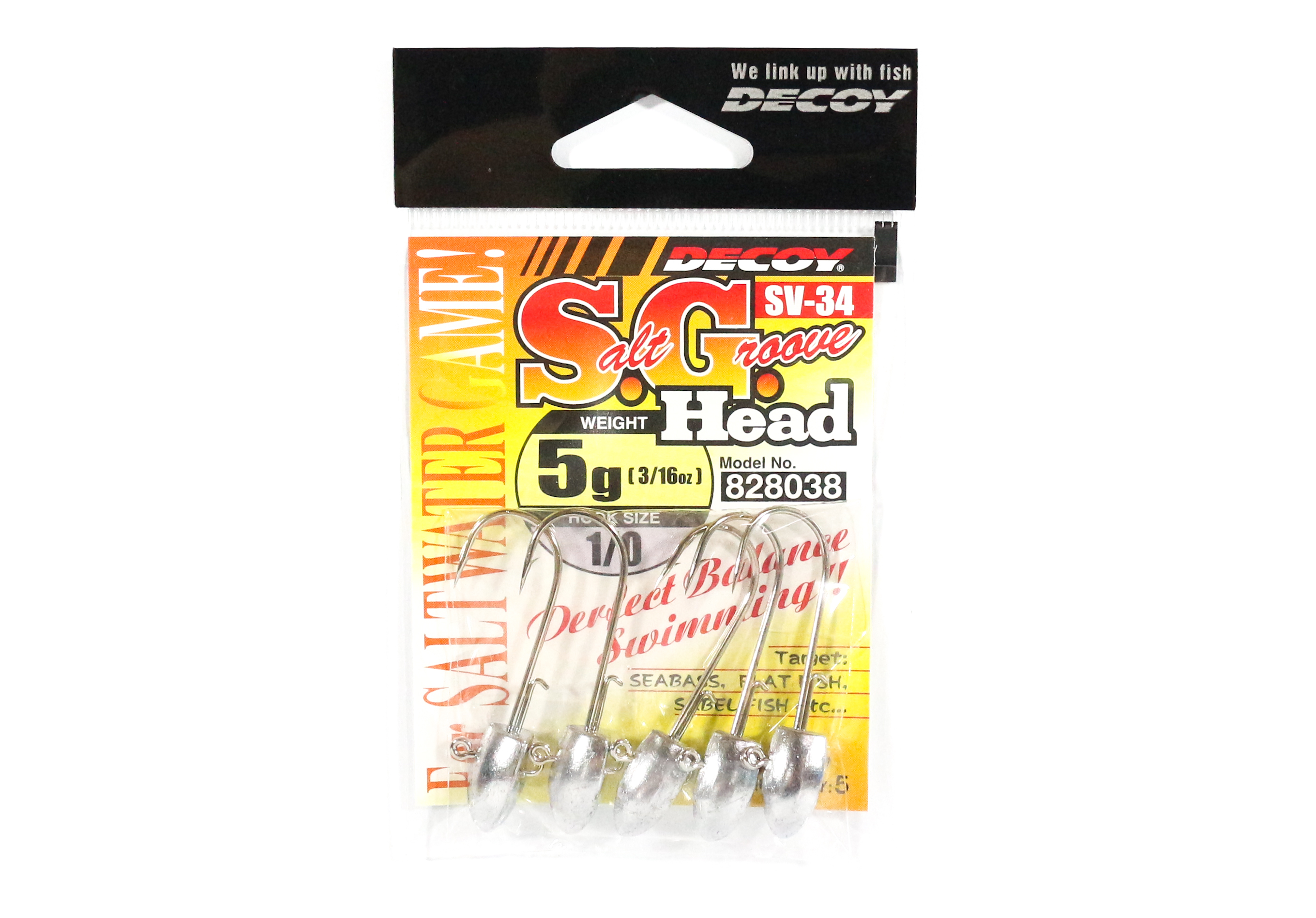Decoy SV-34 Jig Head Salt Groove S.G Head Size 1/0 , 5 grams (8038)