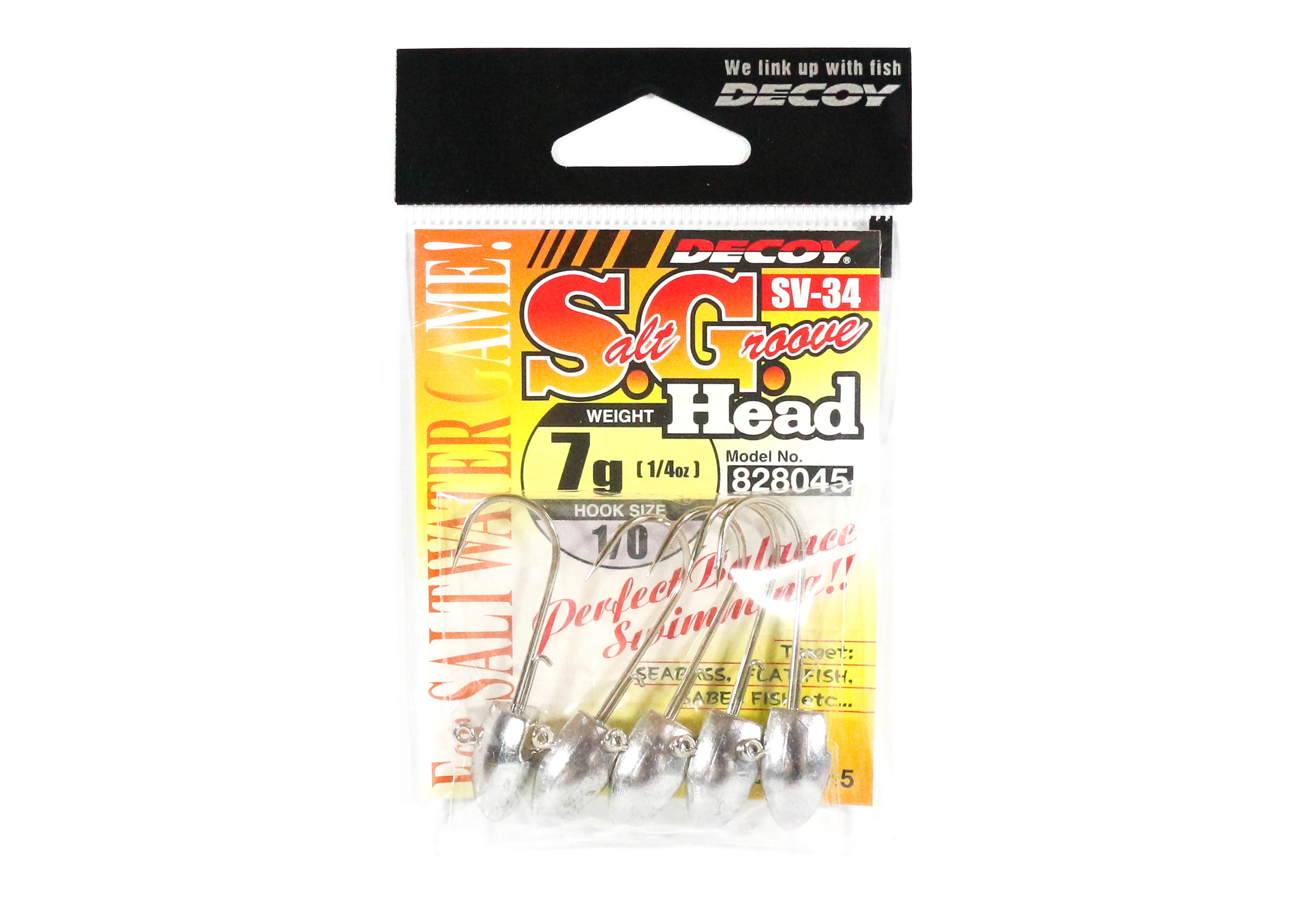 Decoy SV-34 Jig Head Salt Groove S.G Head Size 1/0 , 7 grams (8045)