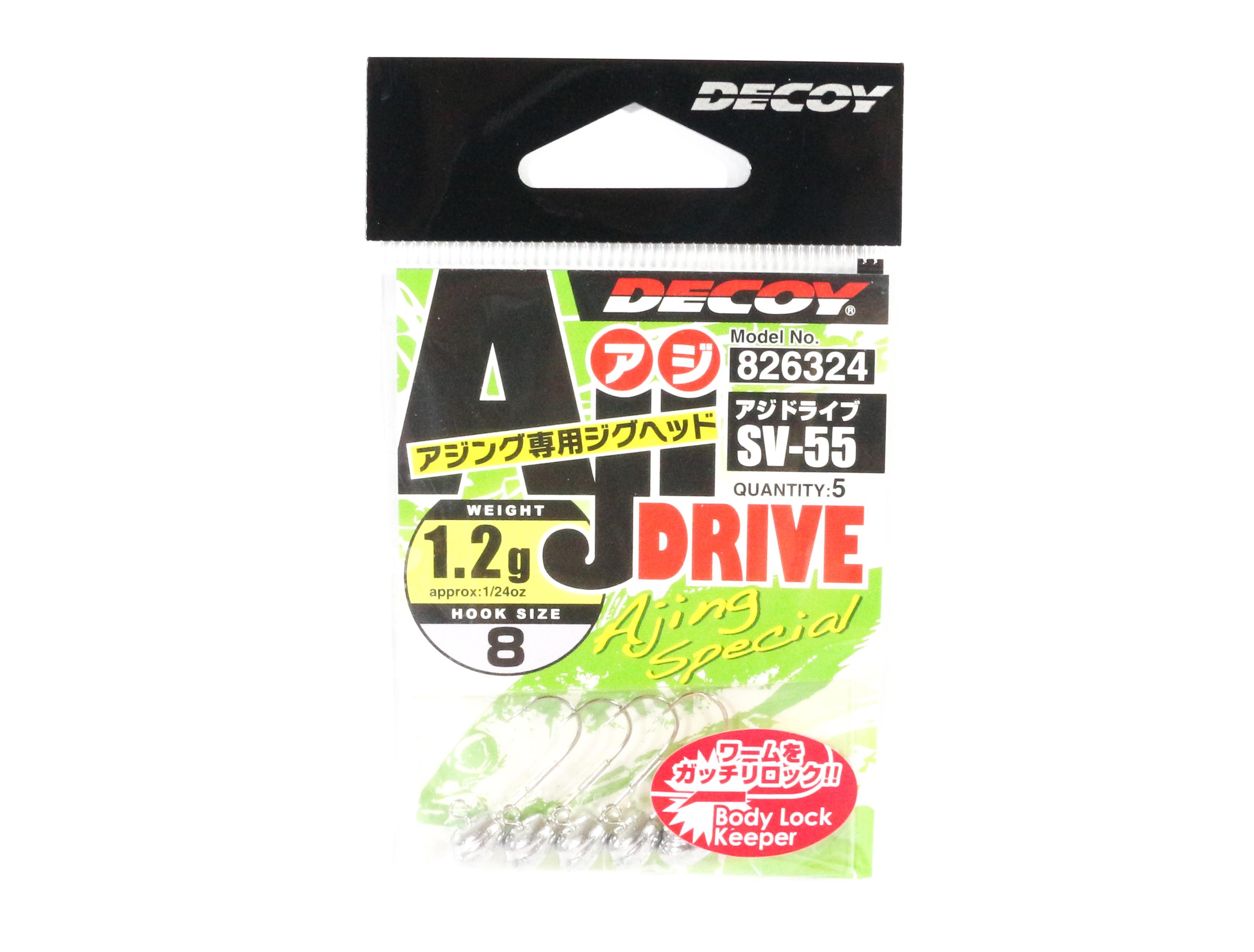 Decoy SV-55 Jig Head Aji Drive Hooks Size 8 , 1.2 grams (6324)
