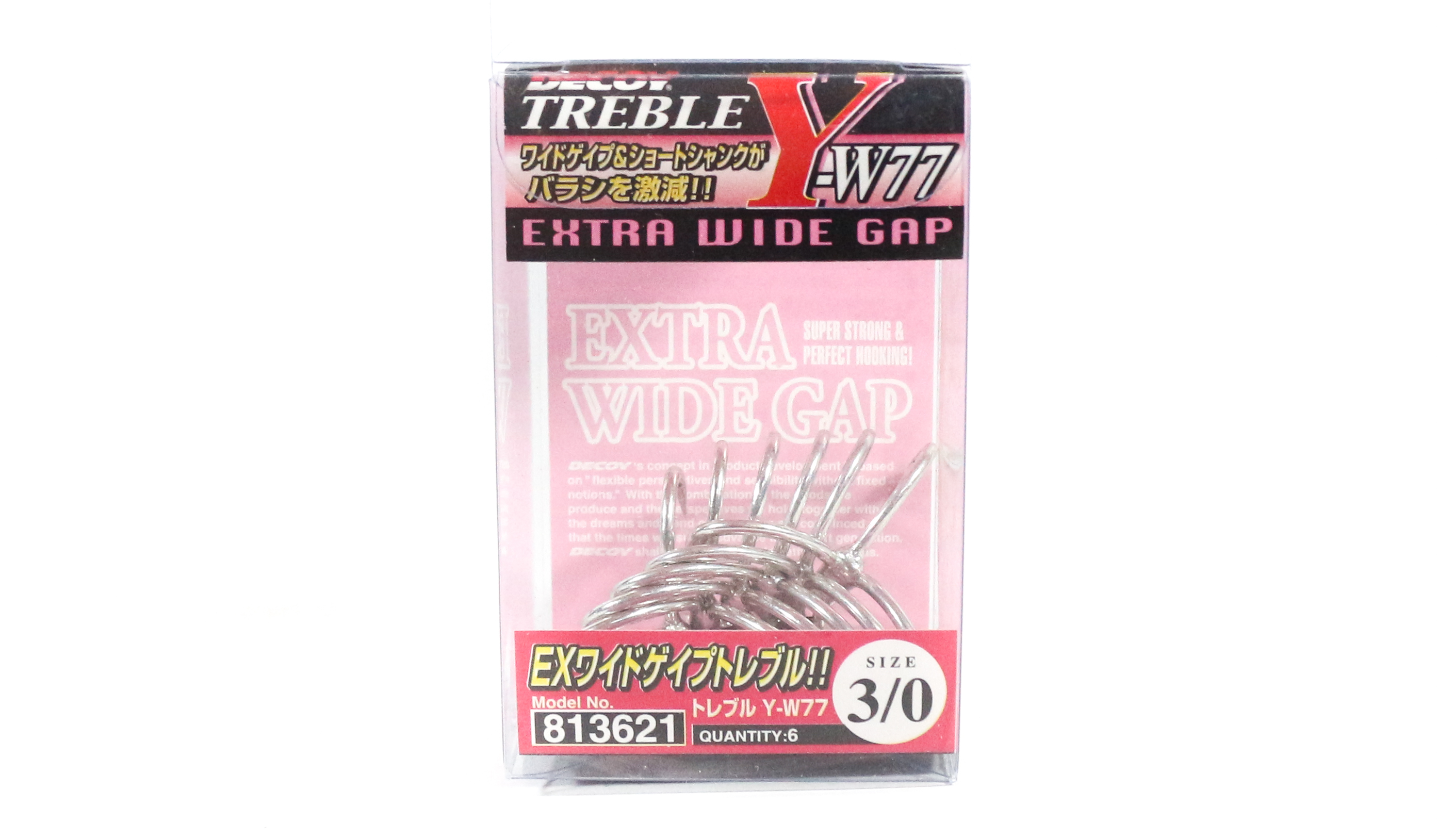 Decoy Y-W77 Treble Hook Wide Gap Extra Strong Hooks Size 3/0 (3621)