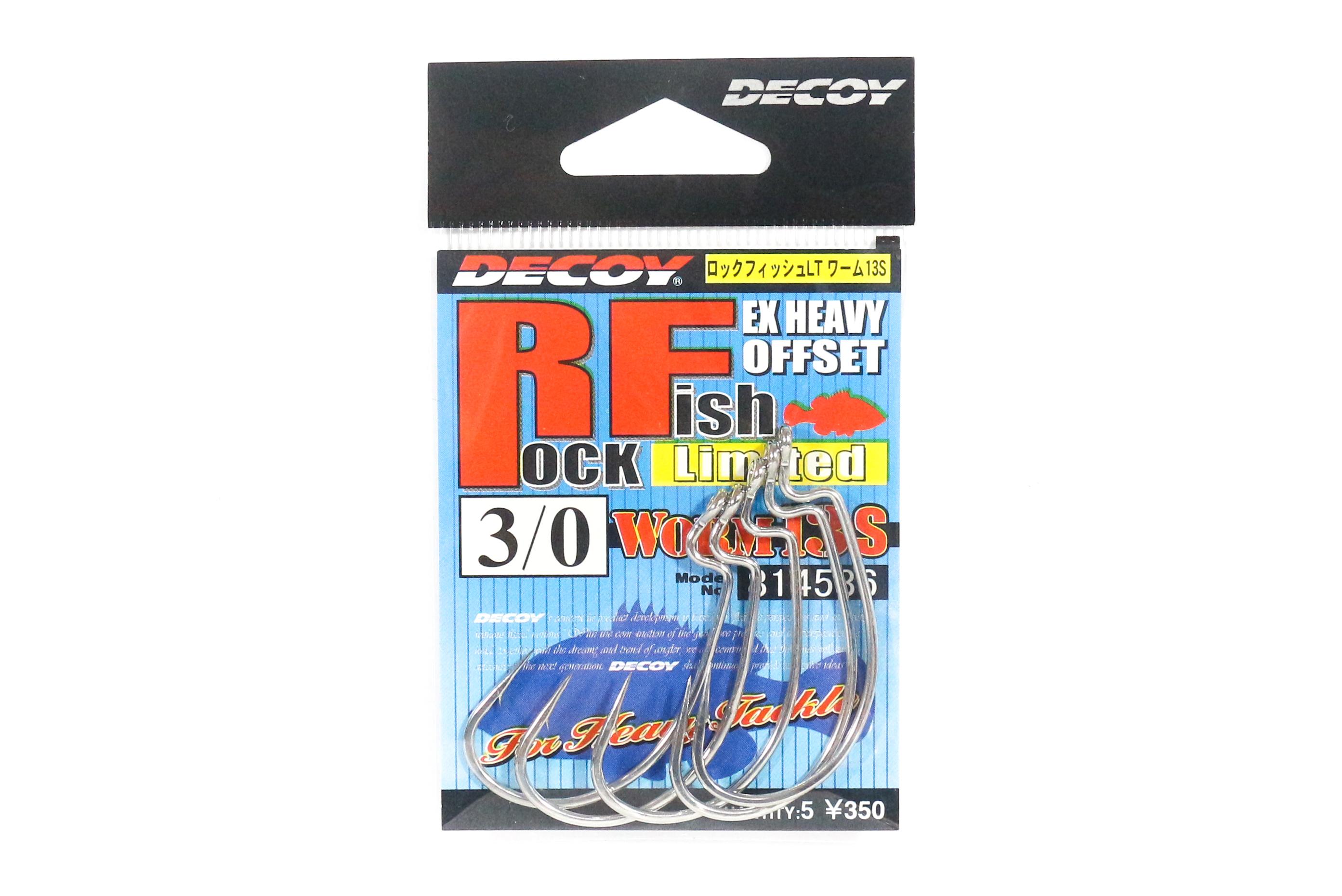Decoy Worm 13S Rock Fish Ltd Extra Heavy Duty Worm Hooks Size 3/0 (4536)
