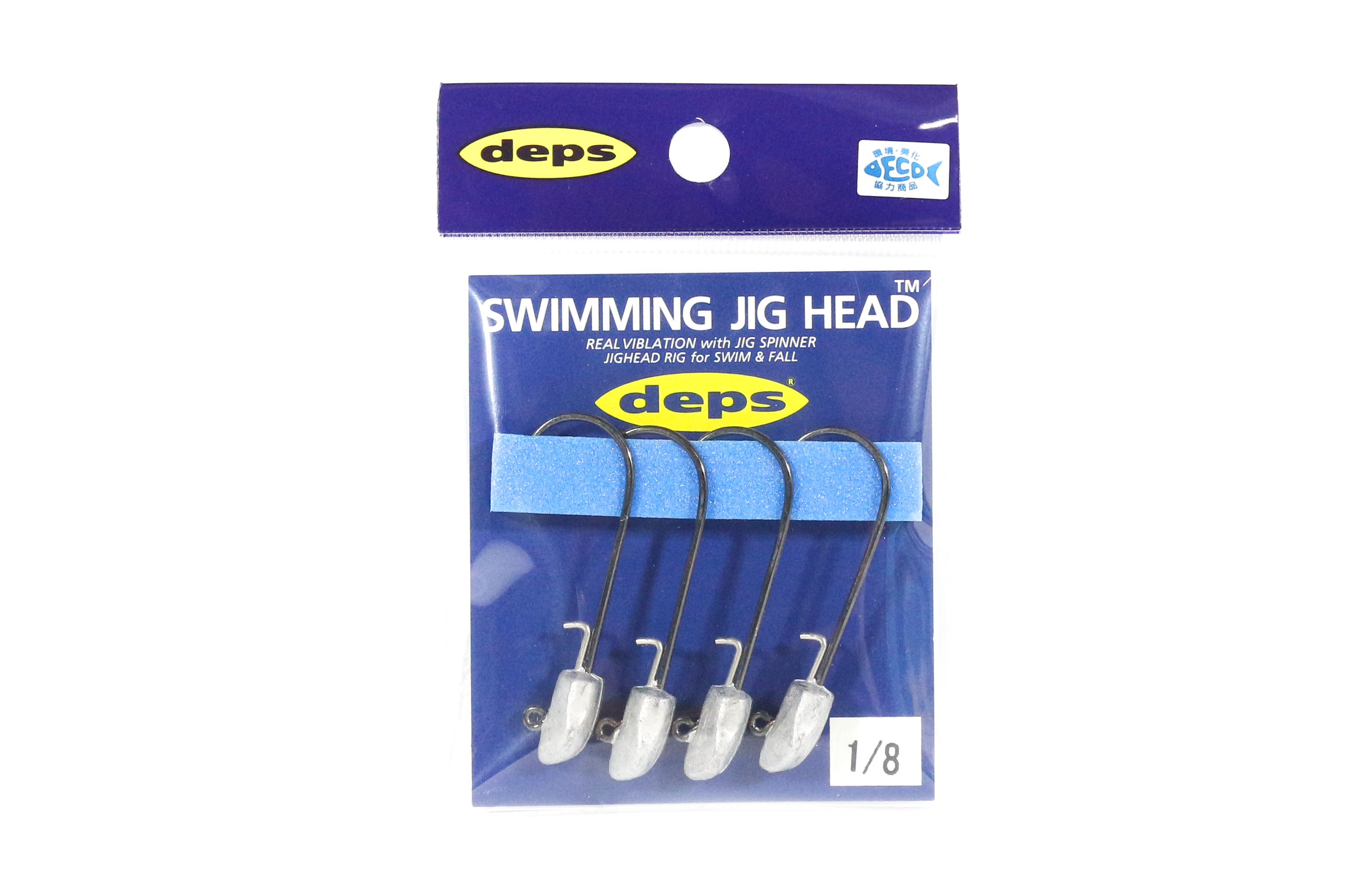 Deps Swimming Jighead 1/8 oz Size 3/0 , 4 piece per pack (0022)