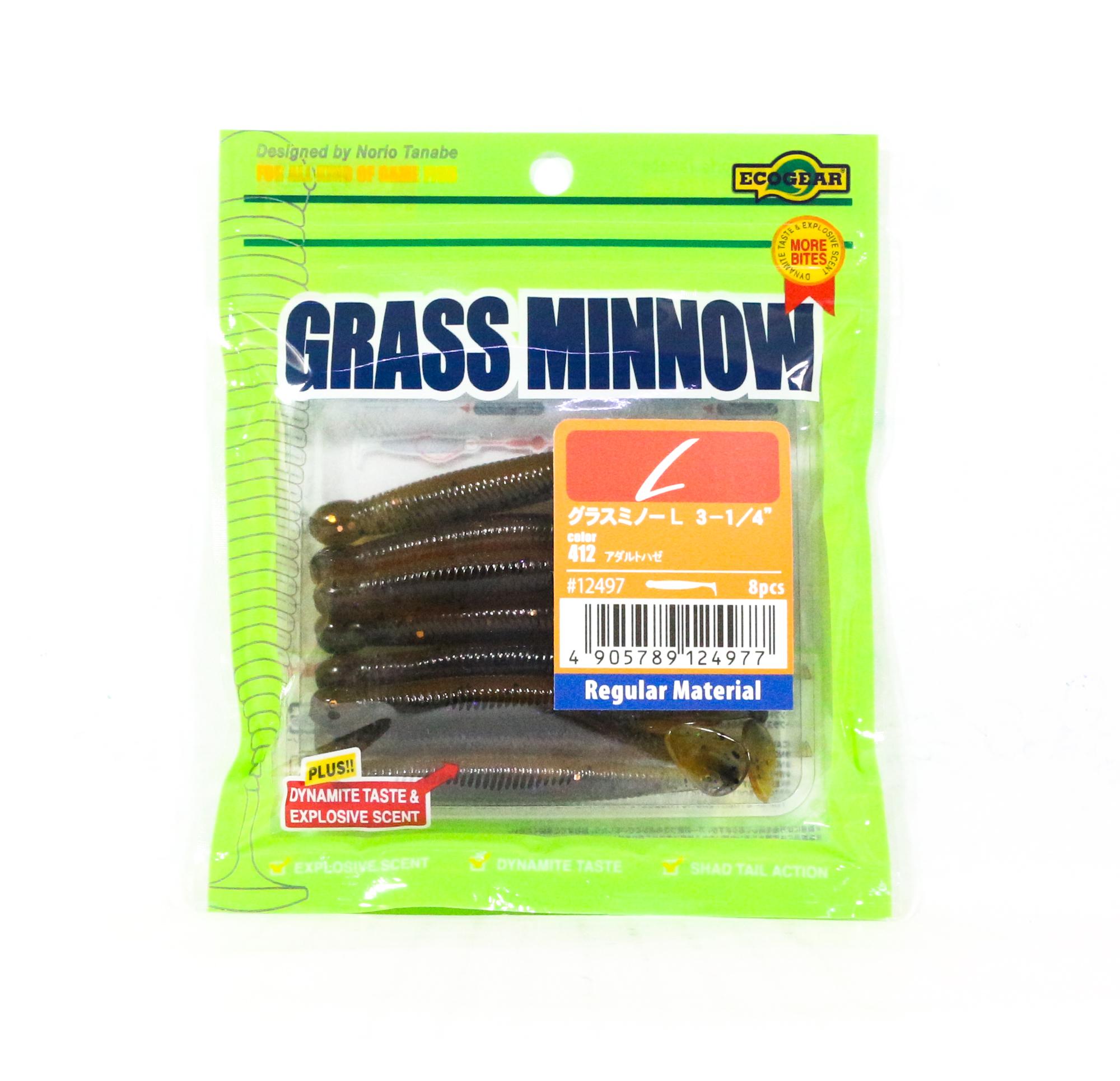 7636 Ecogear Soft Lure Grass Minnow L 3-1//4 Inch 8 piece per pack 010