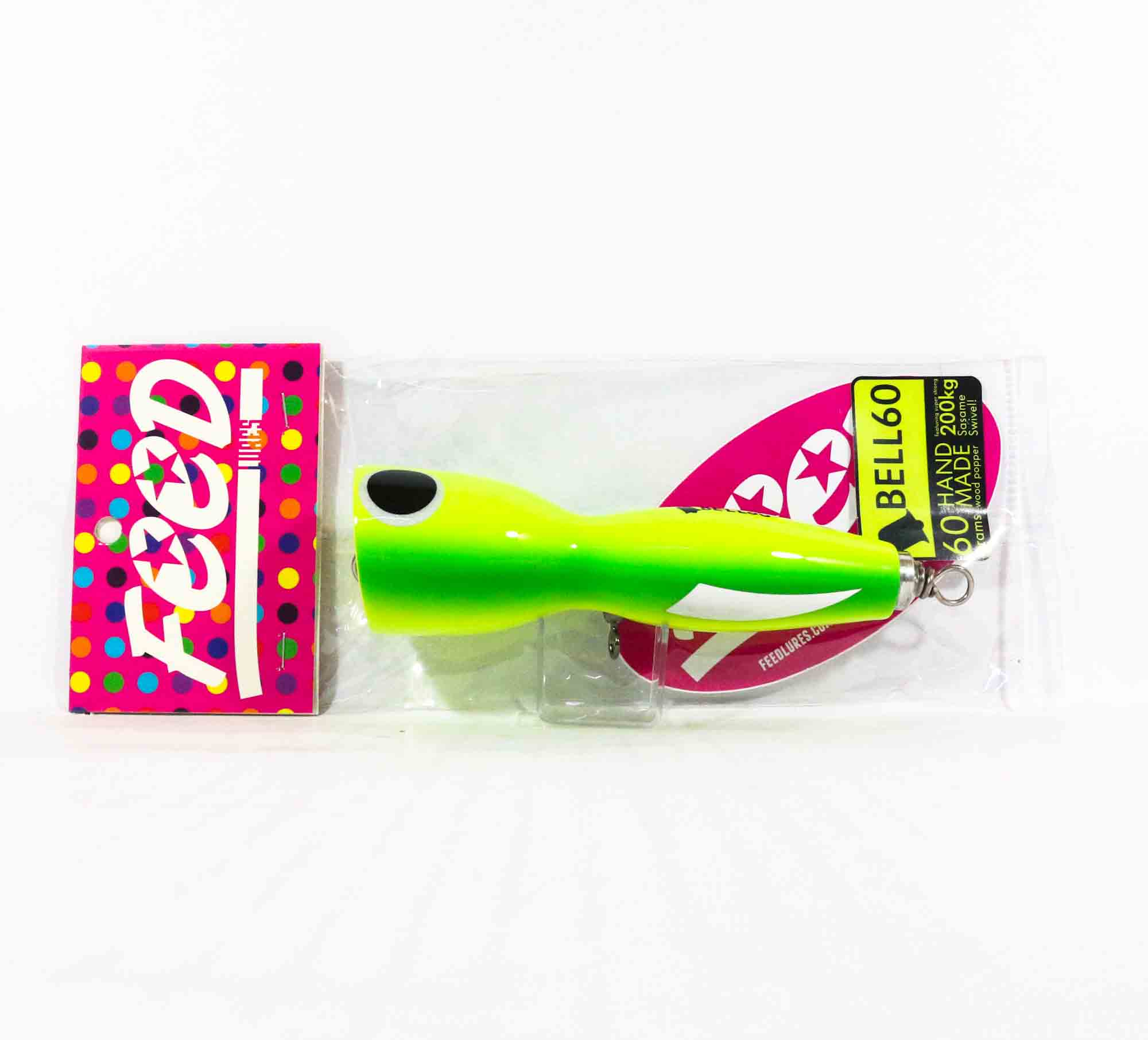 Feed Lures Bell 60 Hand Made Wood Popper Floating Lure 60 grams 60 (7060)