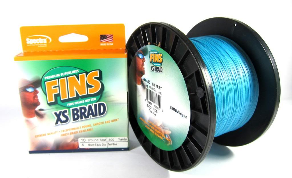 Sale Fins XS Extra Smooth 8 Ply Braided Spectra Line 80lb 1200yds Blue (0843)