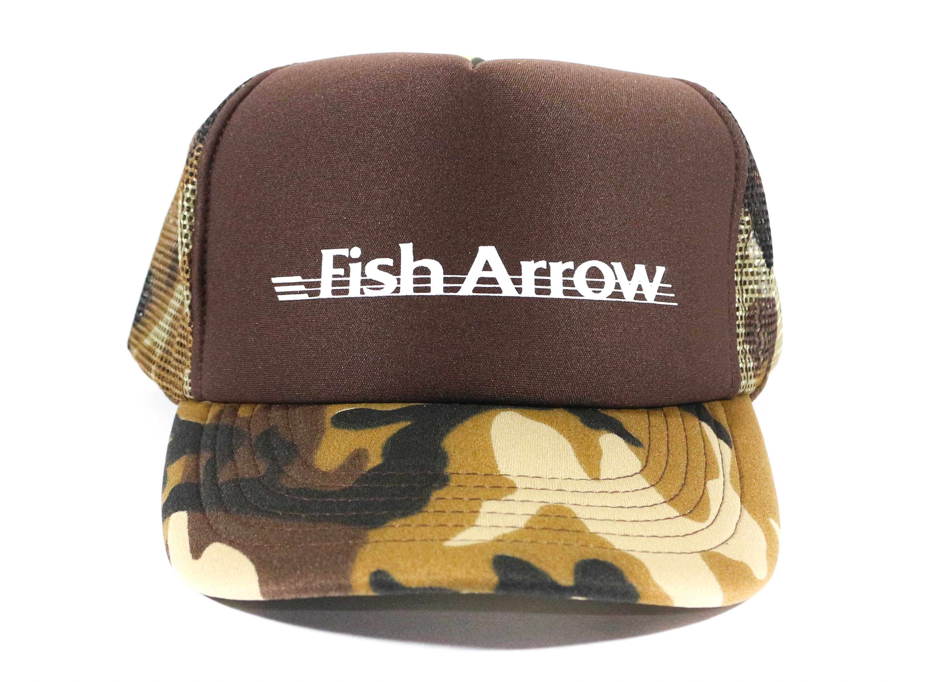 Fish Arrow Cap Mesh Fish Arrow Design Brown/White (7835)