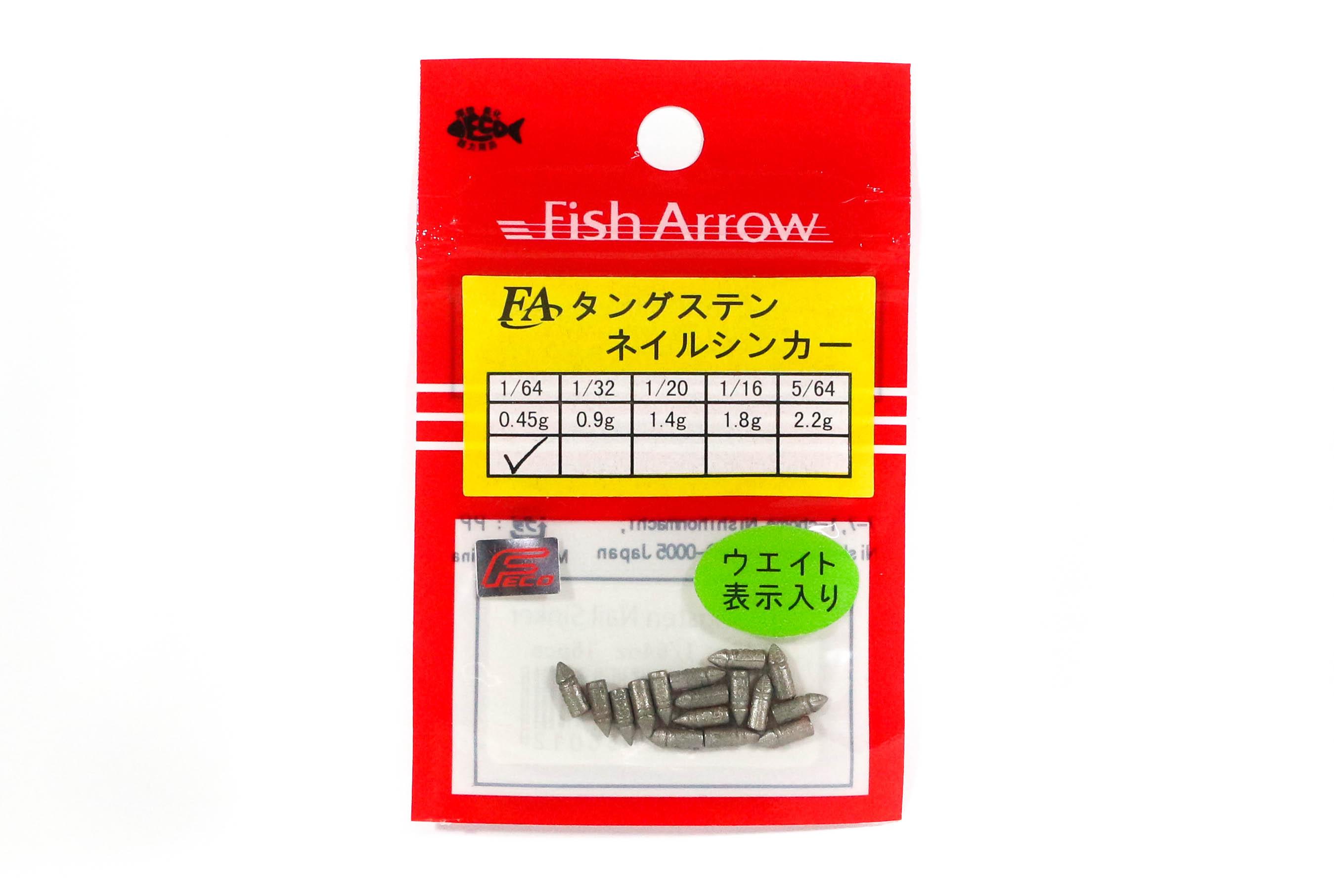 Fish Arrow Nail Sinker 0.45 grams 16 pieces per pack (6012)