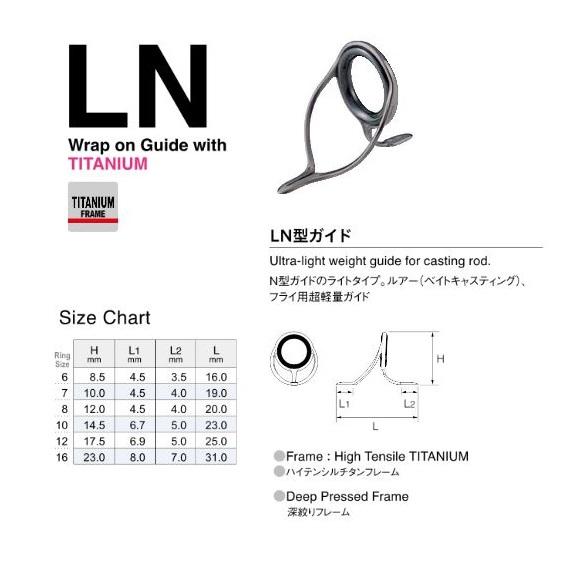 Fuji T-LNSG Size 16 Rod Guide Titanium Frame SIC x 1 piece 4566