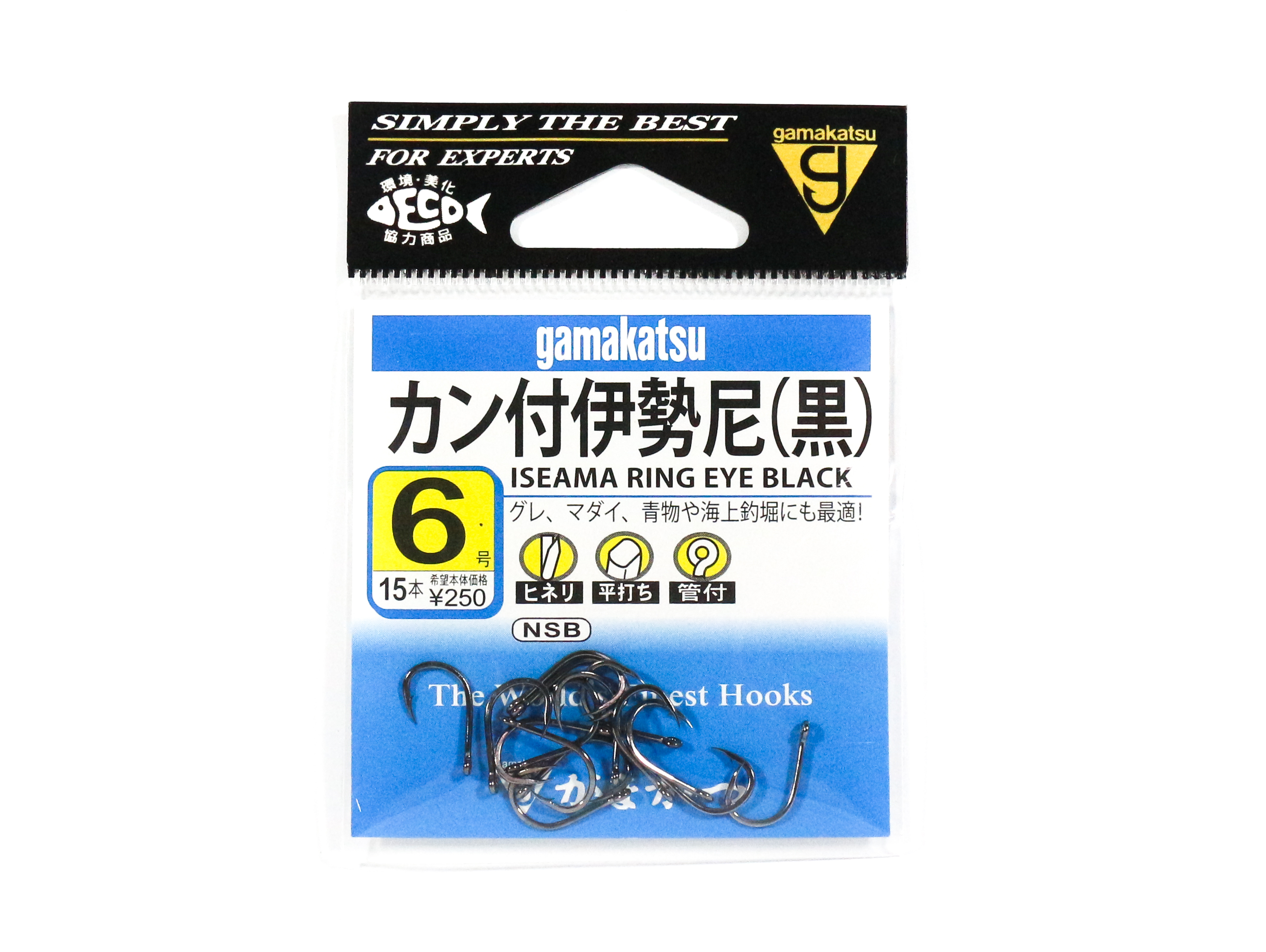 Gamakatsu Iseama Ring Eye Hook Black Size 6 ,15 Per pack (9283)