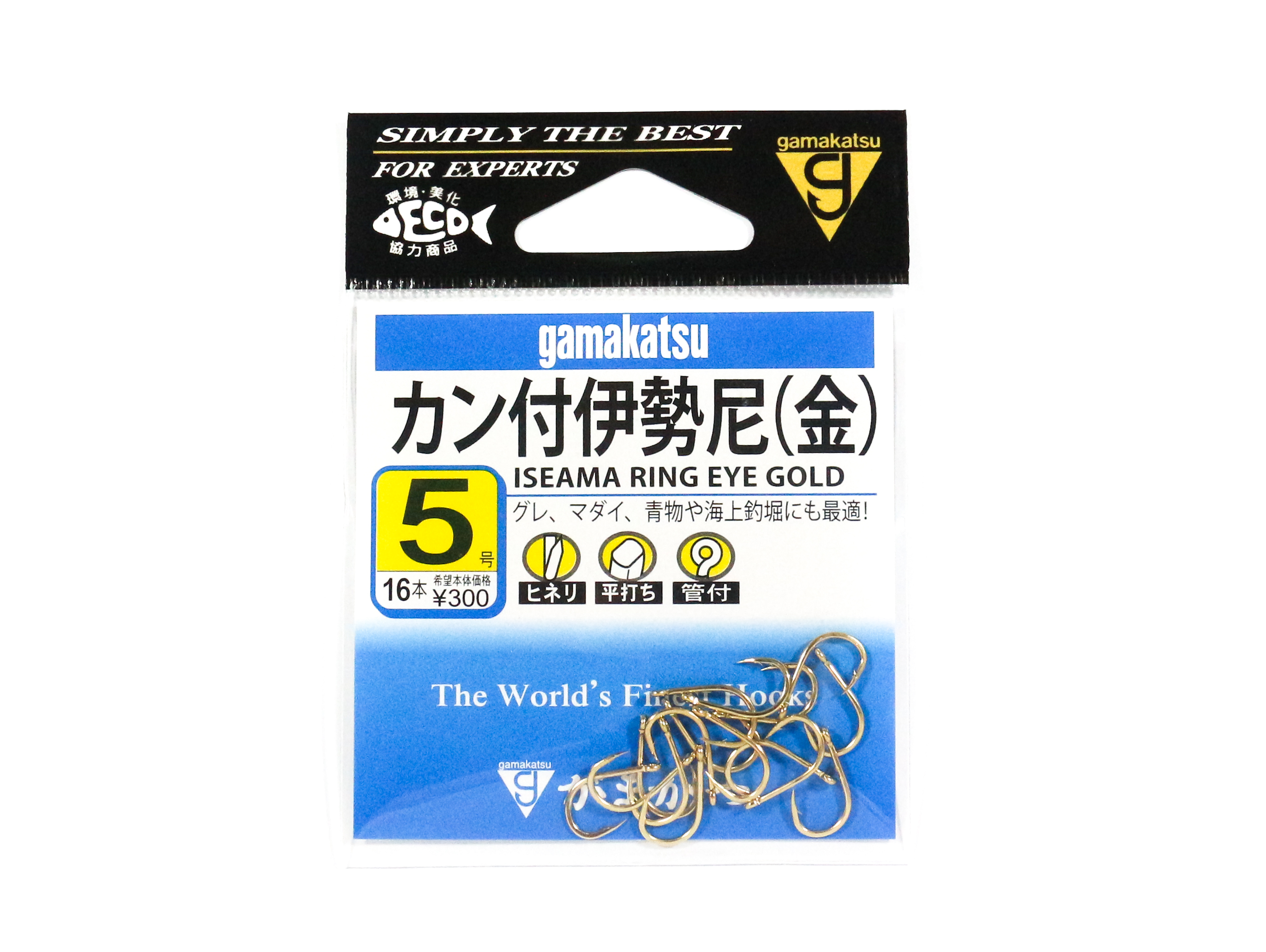 Gamakatsu Iseama Ring Eye Hook Gold Size 5 ,16 Per pack (9375)