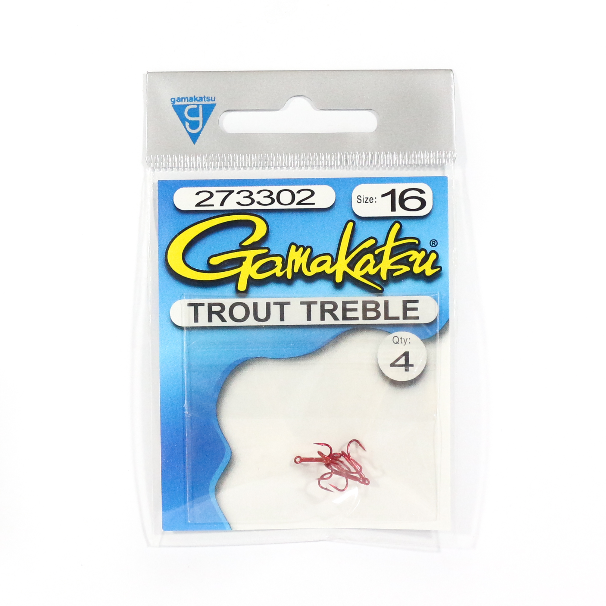 Gamakatsu Treble Hook Trout Treble Red Size 16 ,4 Per pack (9195)