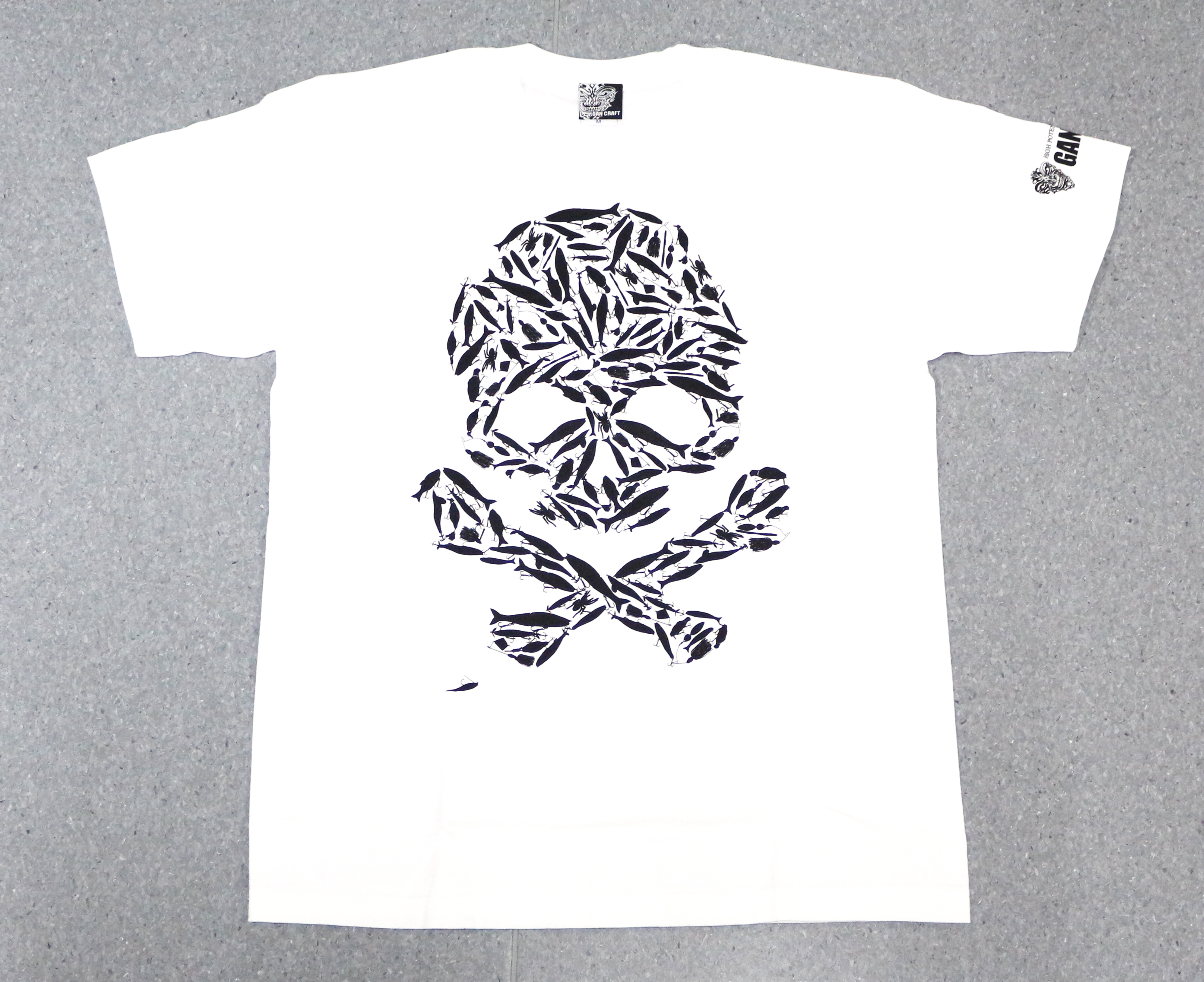 Gan Craft T Shirt Short Sleeve Lure Skull Tee Size M White (6936)
