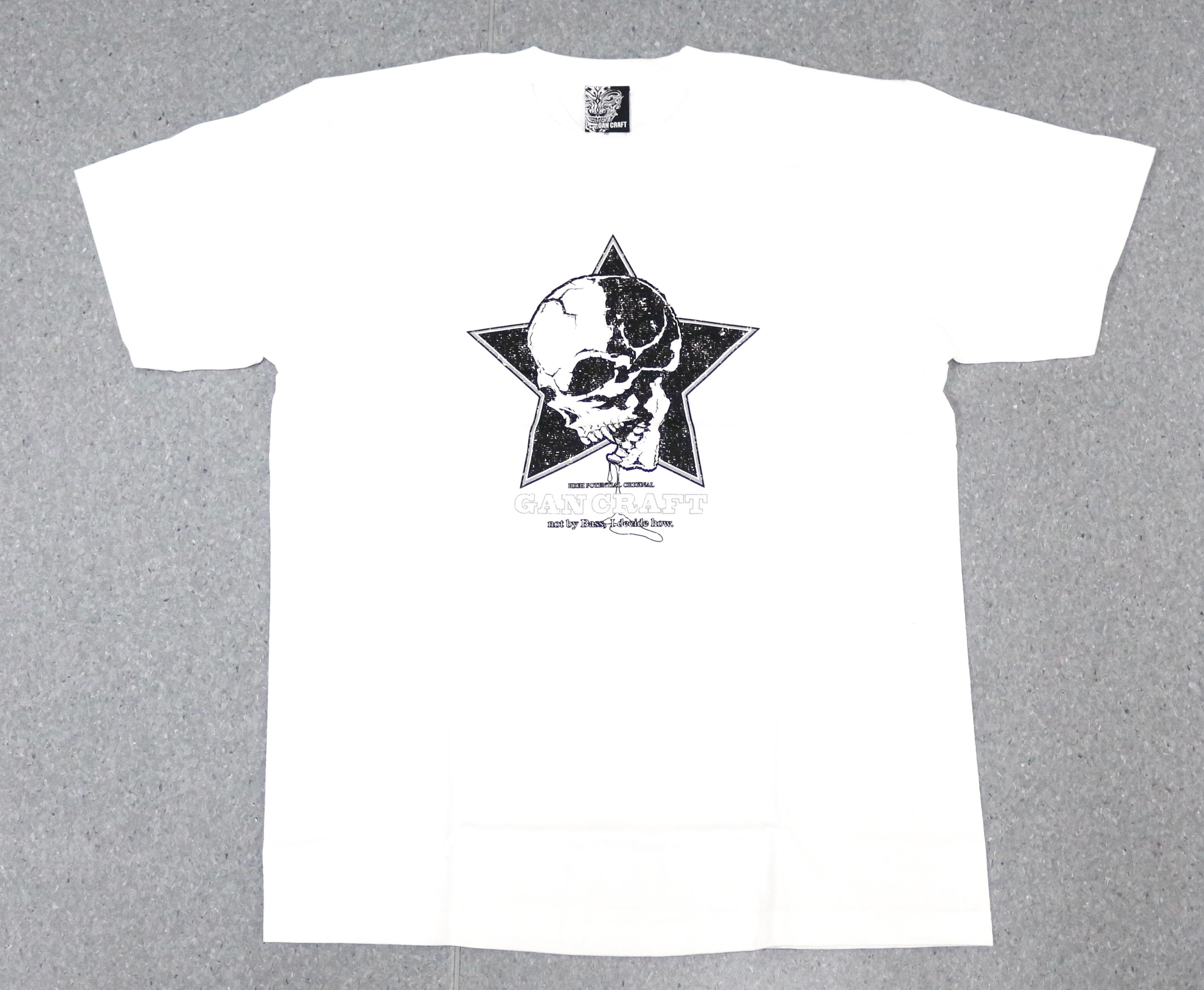 Gan Craft T Shirt Short Sleeve Star Skull Tee Size L White (3781)