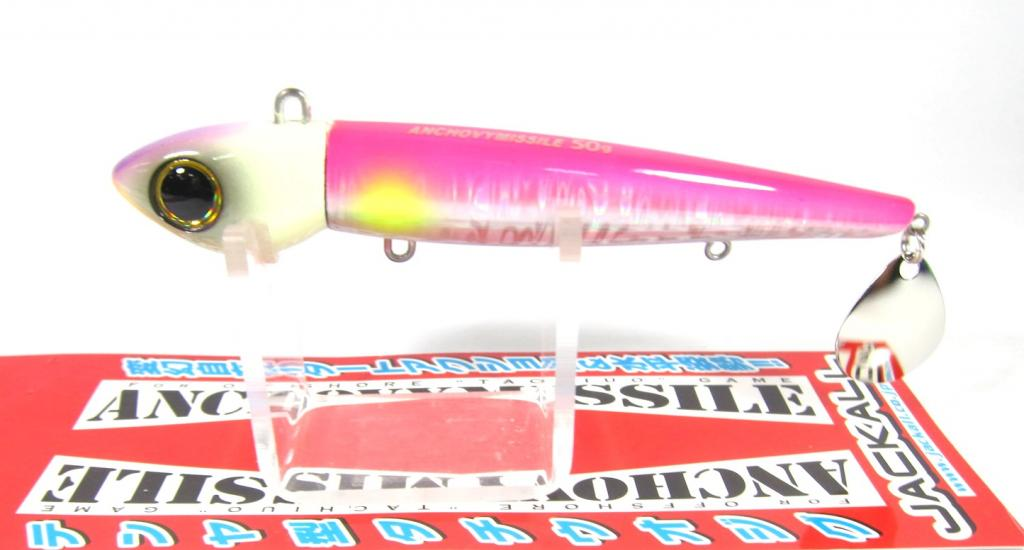 Jackall Anchovy Missile Saltwater Jig Lure 50 grams Glow Pink Silver (8044)