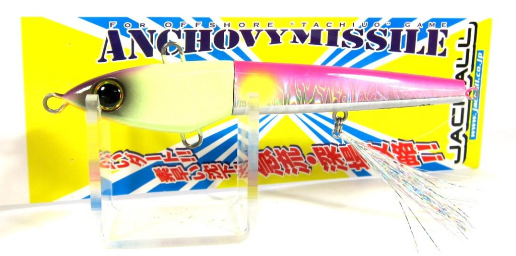 Sale Jackall Anchovy Missile Turbo Jig Lure 90 grams Glow Pink Silver (9276)