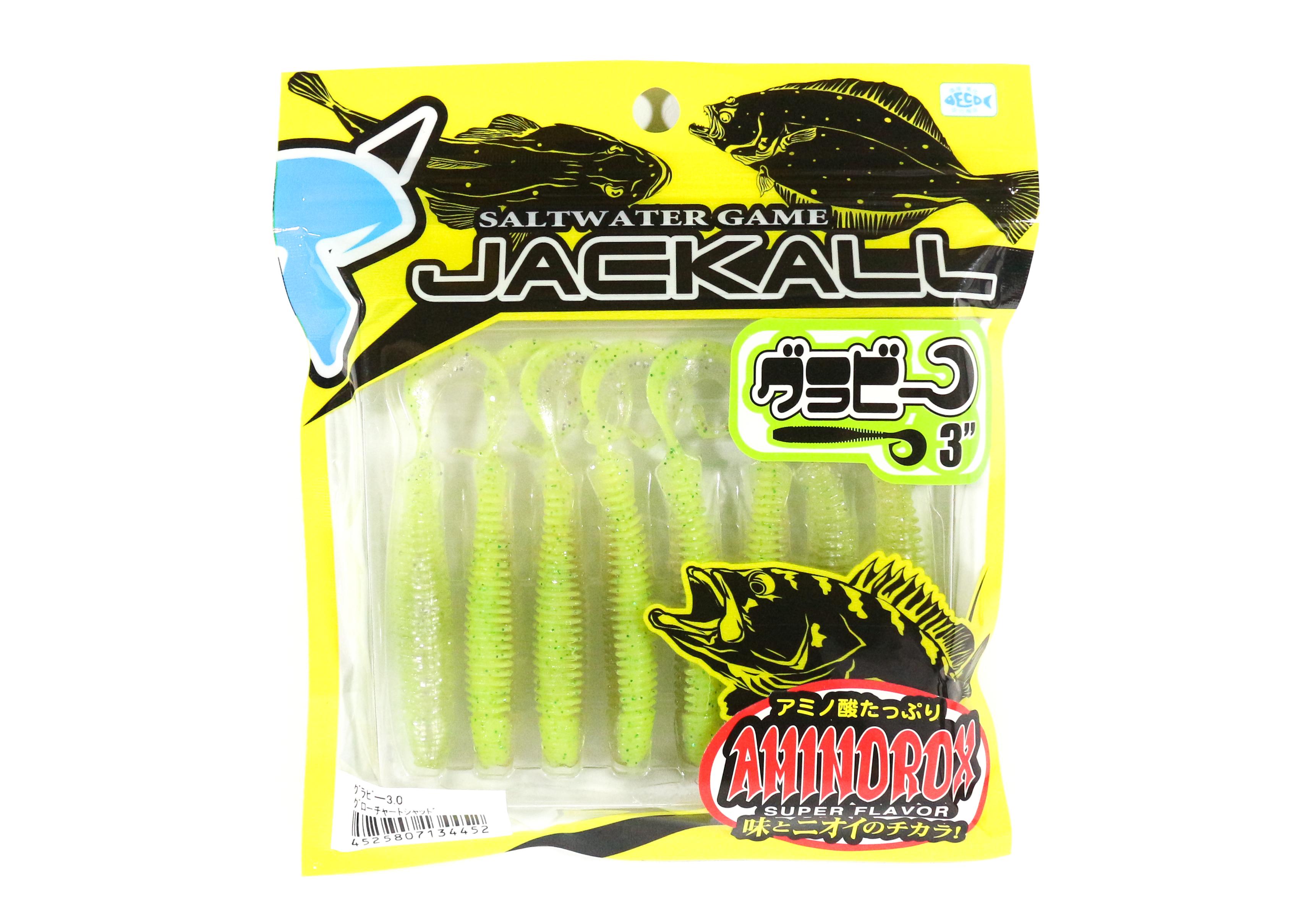 Sale Jackall Soft Lure Grubee 3 Inches Glow Chart Shad (4452)