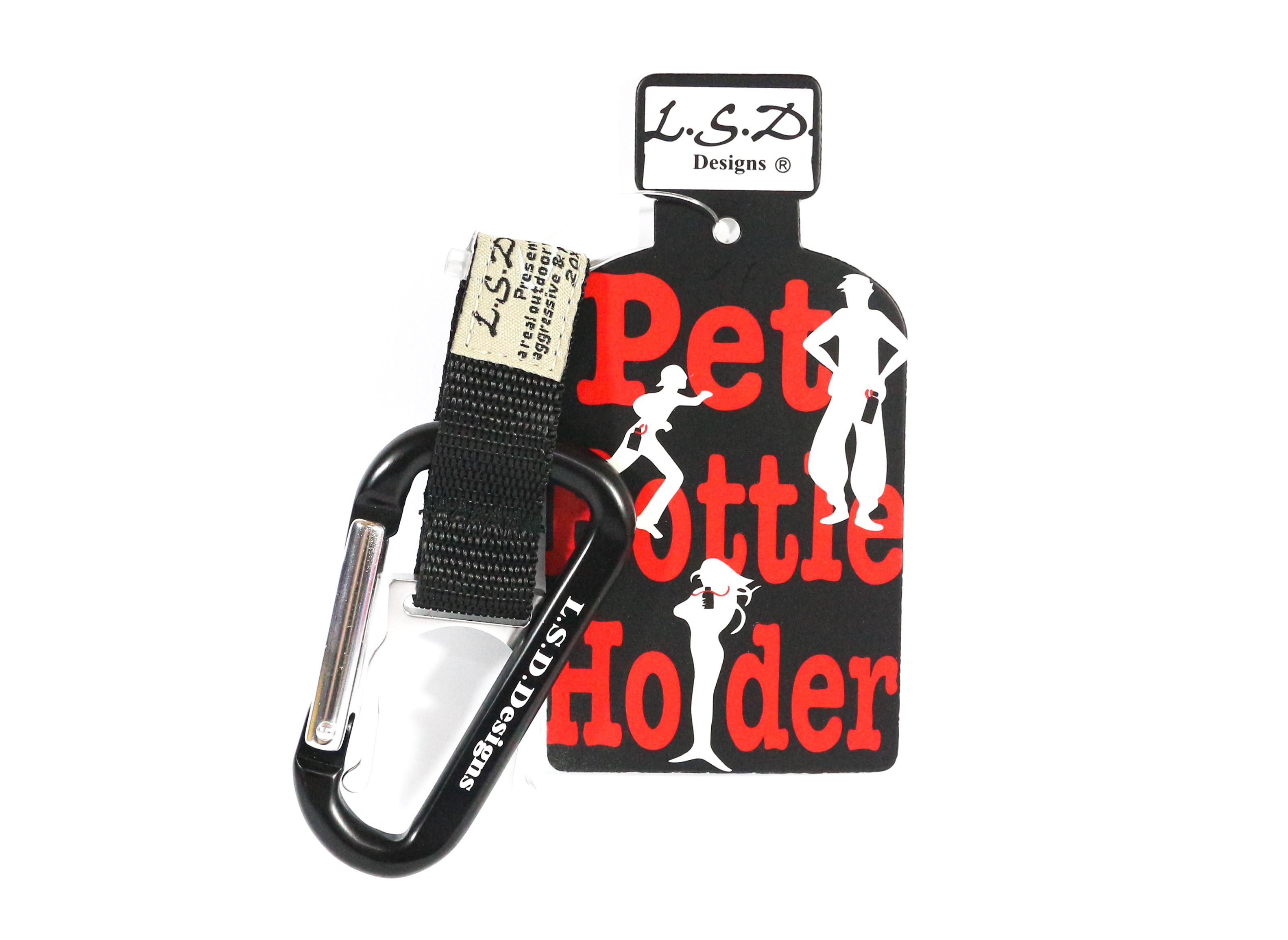 LSD Pet Bottle Holder Carabiner Clip Black (7653)