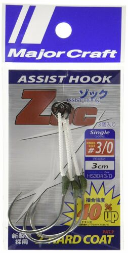 Major Craft ZOC Assist Hook Single ZOC-HS30 Size 3/0 , 3 cm 2sets/pack (0536)