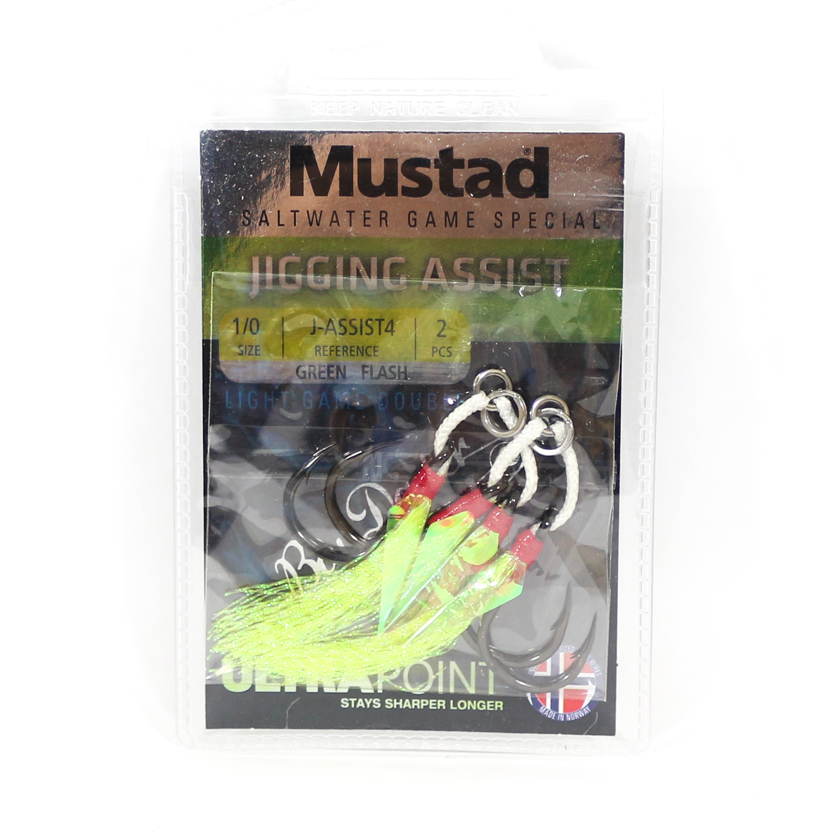 Mustad Twin Assist Jigging Hooks Size M 1/0 Green (4578)