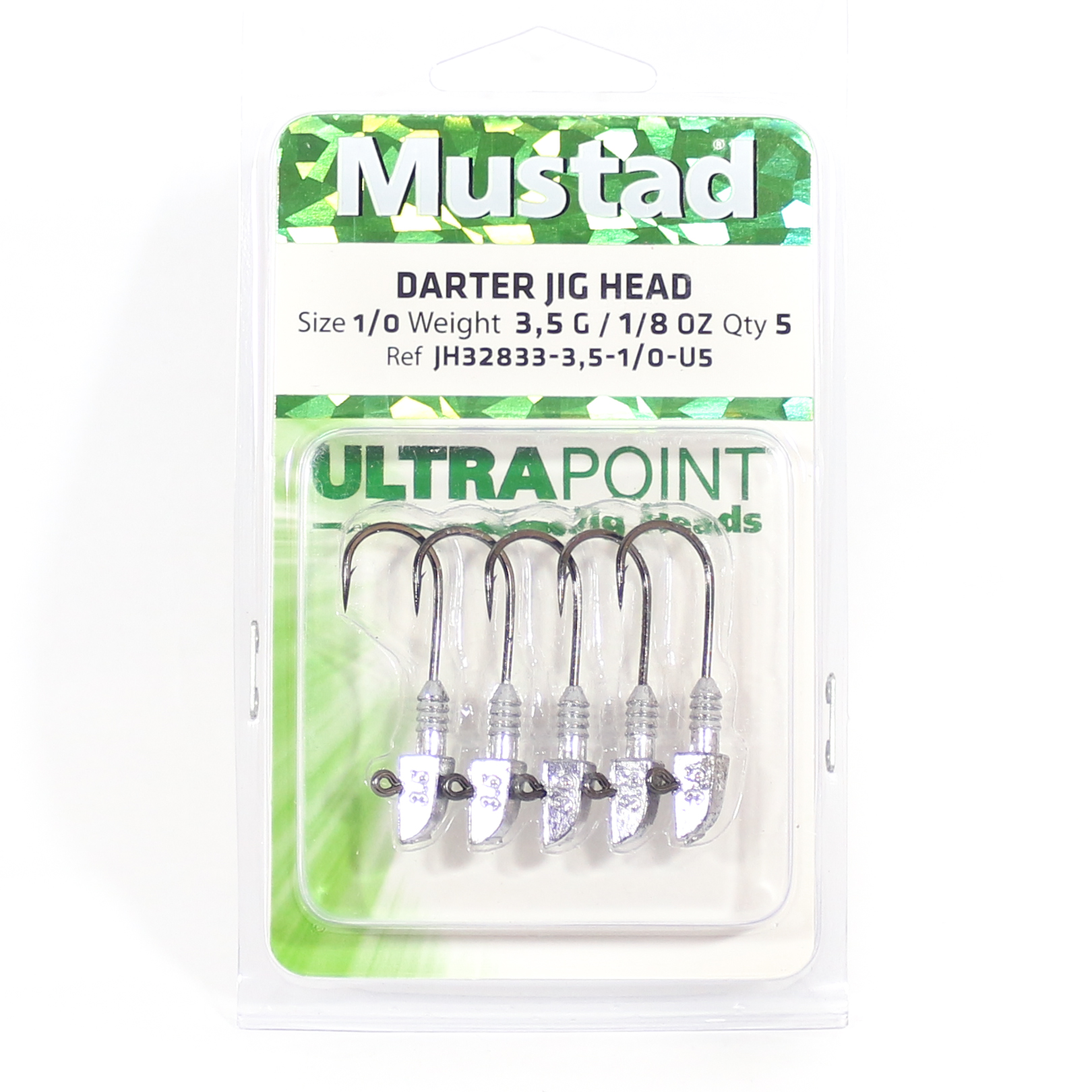 Mustad Jig Head Darter 3.5 Grams 5 Pcs per pack Size 1/0 (2845)