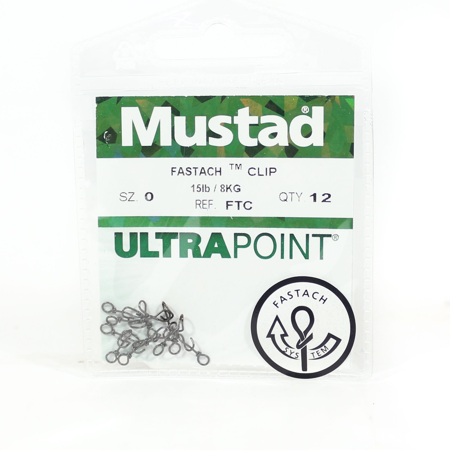 Mustad Lure Snap Fastach Clip Size 0 Black (4111)