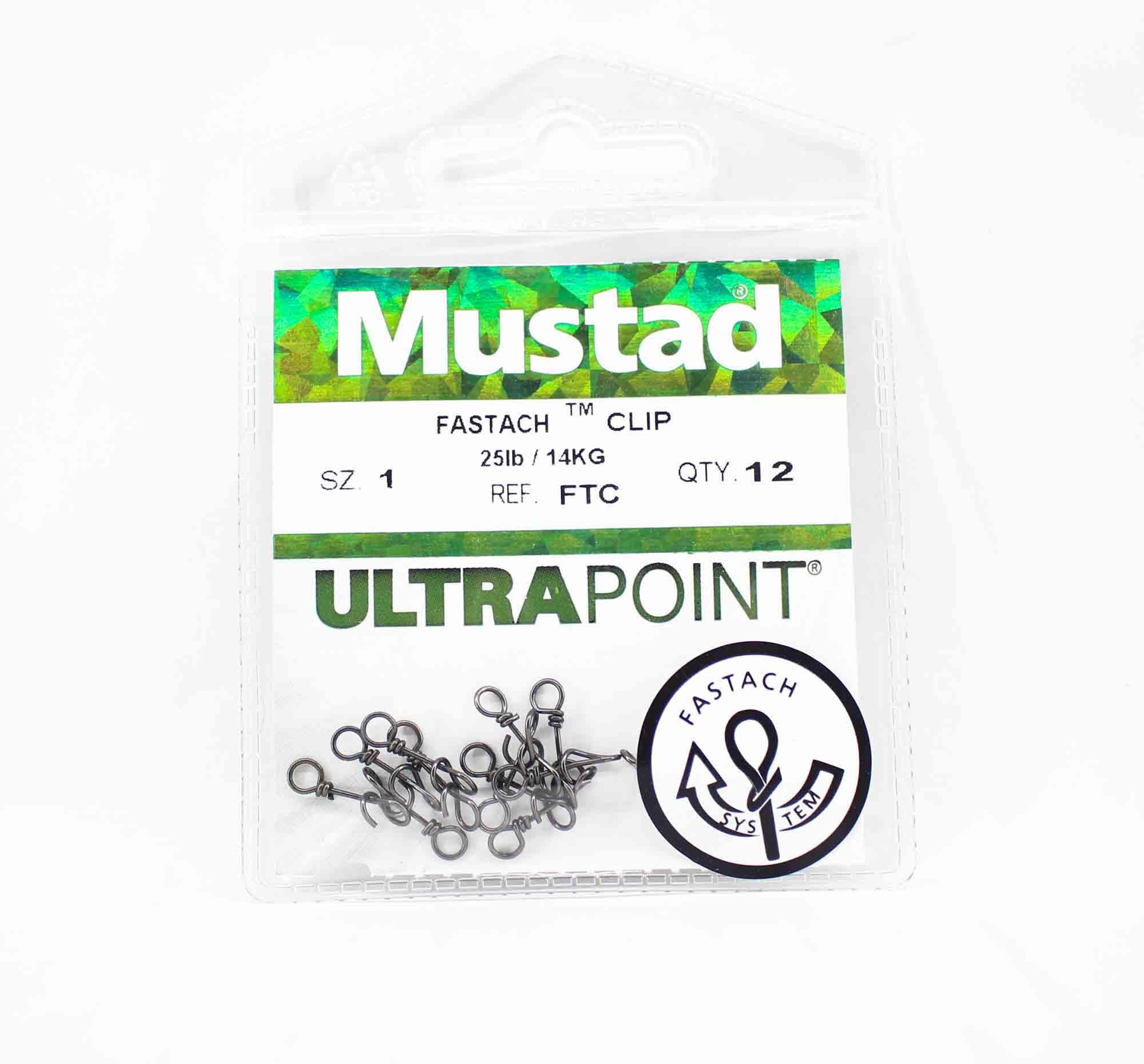 Mustad FTC-1-U12 Ultrapoint Fastach Clip Size 1 Black (0844)