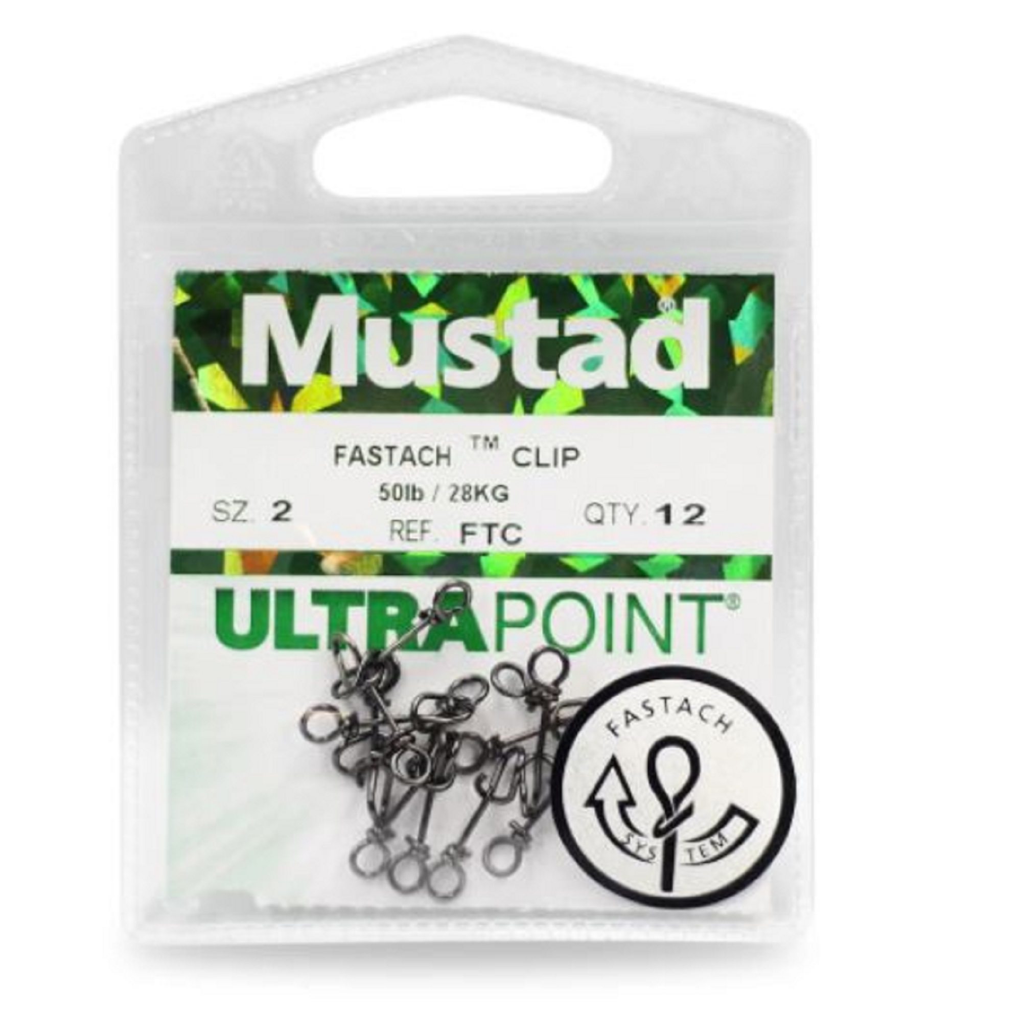Mustad Ultrapoint Fastach Clip Size 2 Black (0851)