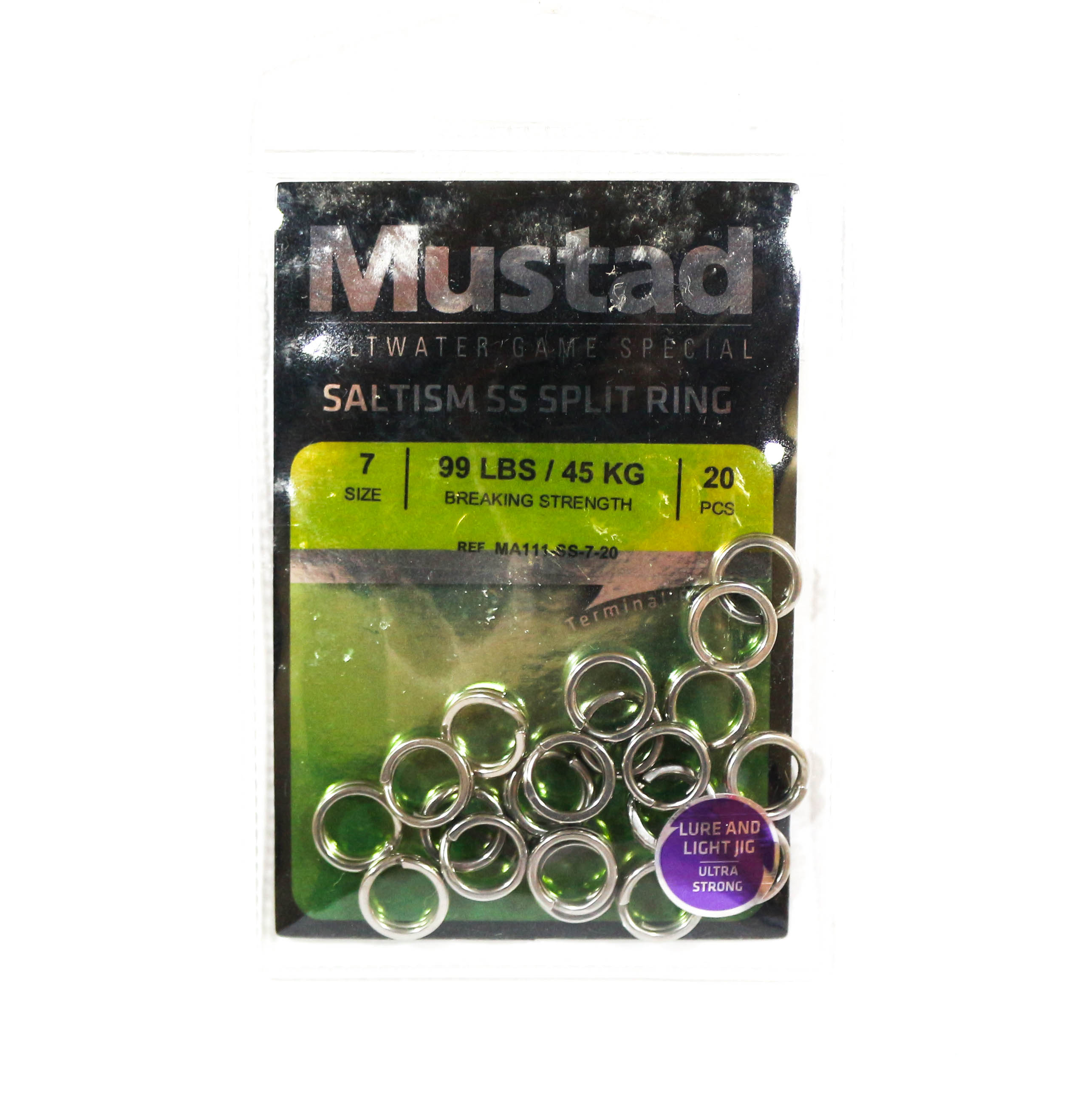 Mustad Saltism SS Split Ring Size 7 99lb 20 Pieces (5277)