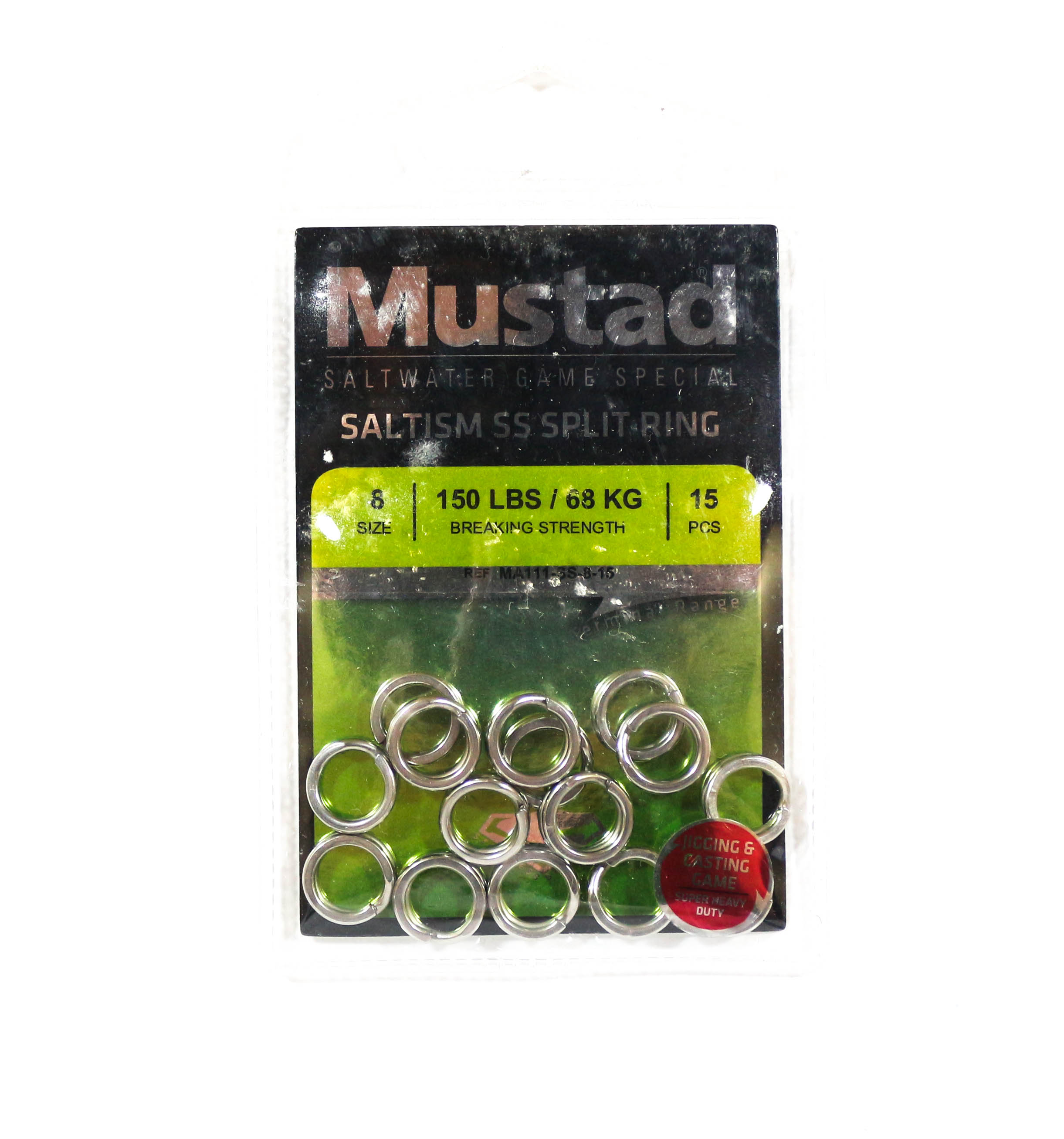 Mustad Saltism SS Split Ring Size 8 150lb 15 Pieces (5284)