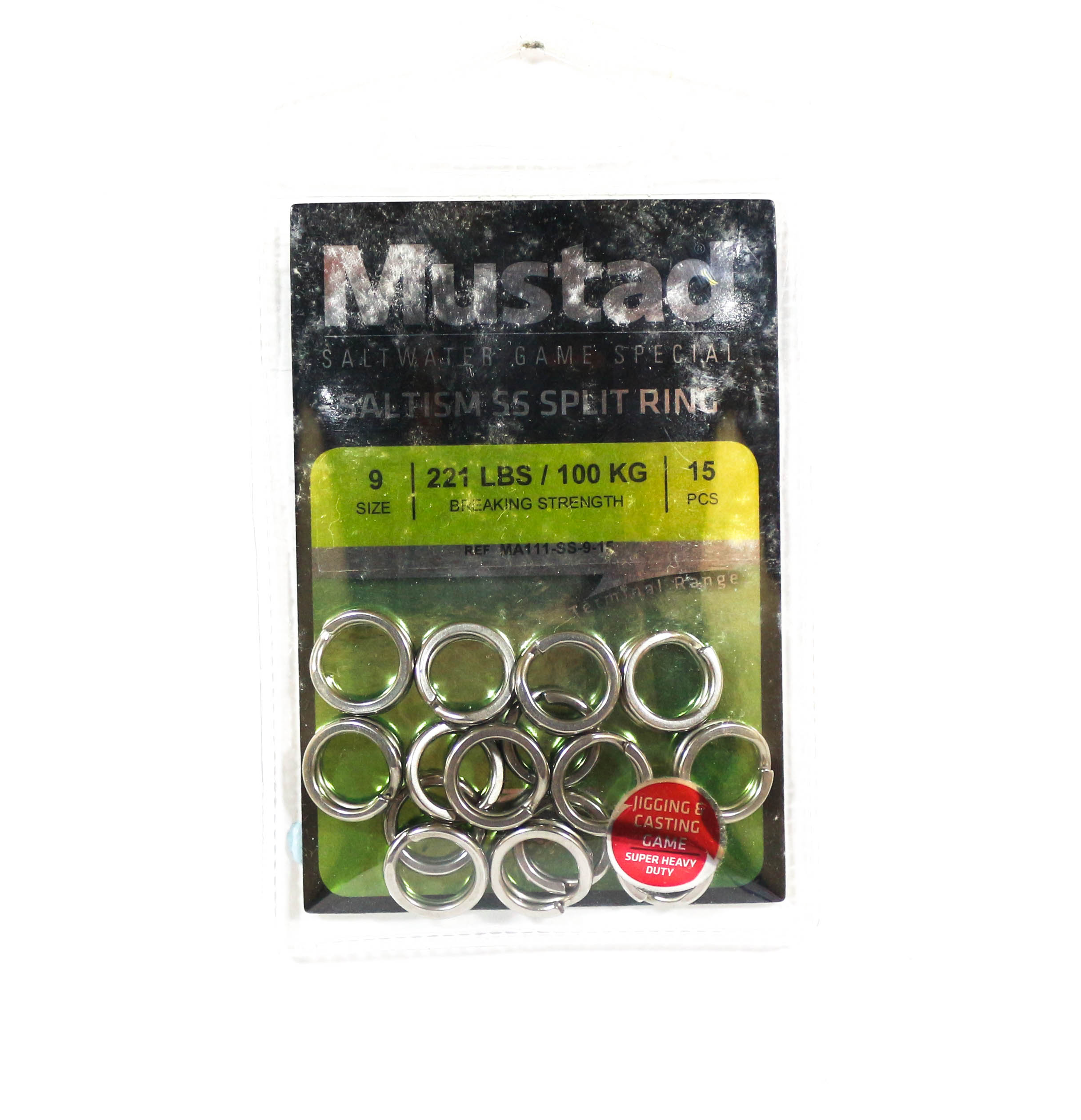 Mustad Saltism SS Split Ring Size 9 221lb 15 Pieces (5291)