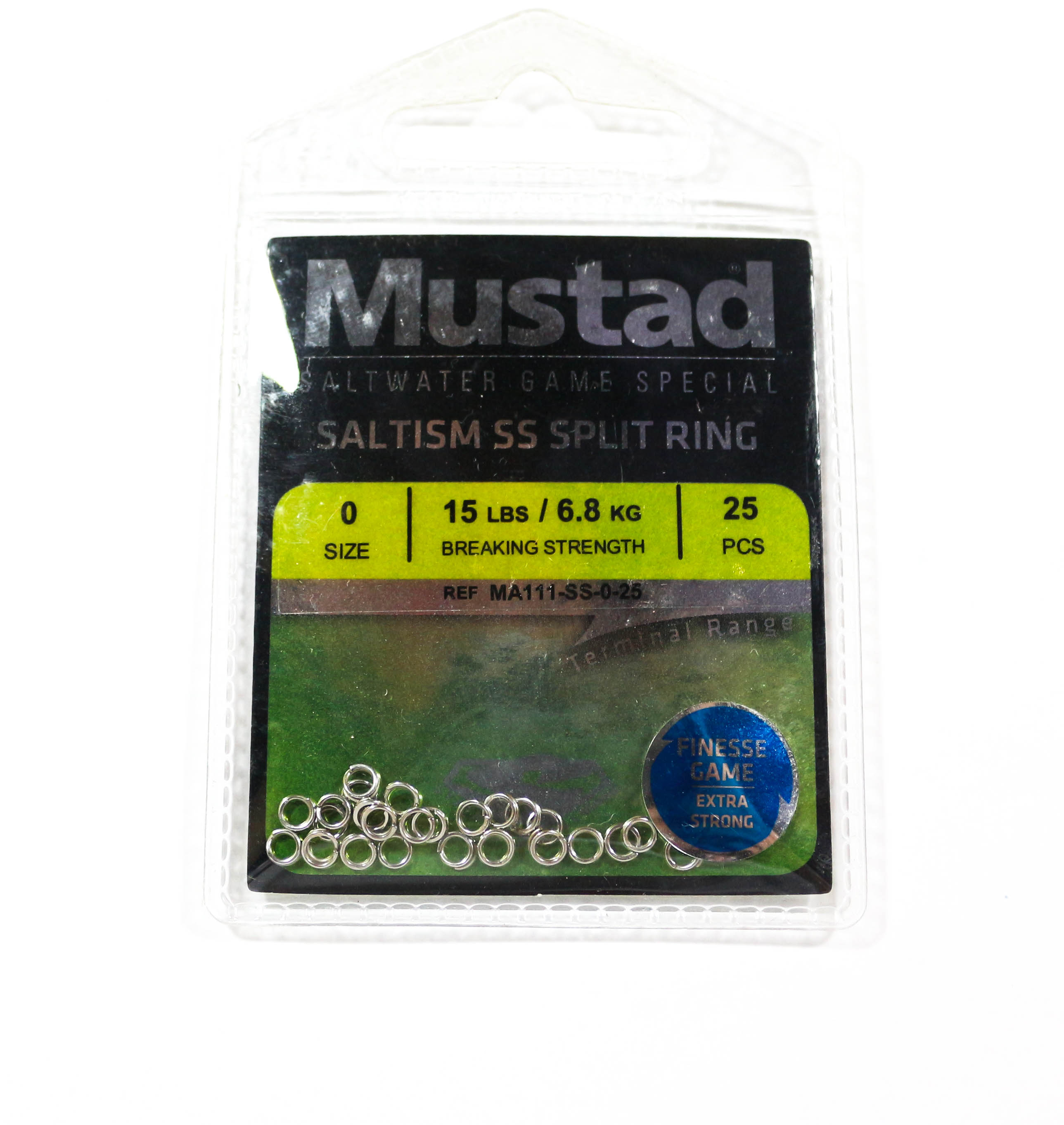 Mustad Saltism SS Split Ring Size 0 15lb 25 Pieces (5338)