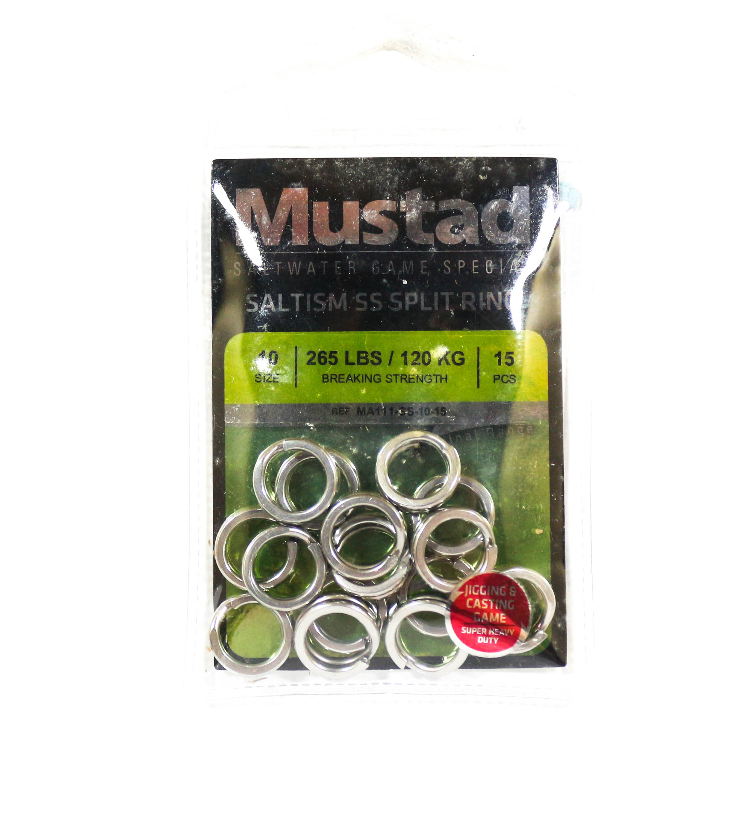 Mustad Saltism SS Split Ring Size 10 265lb 15 Pieces (5352)