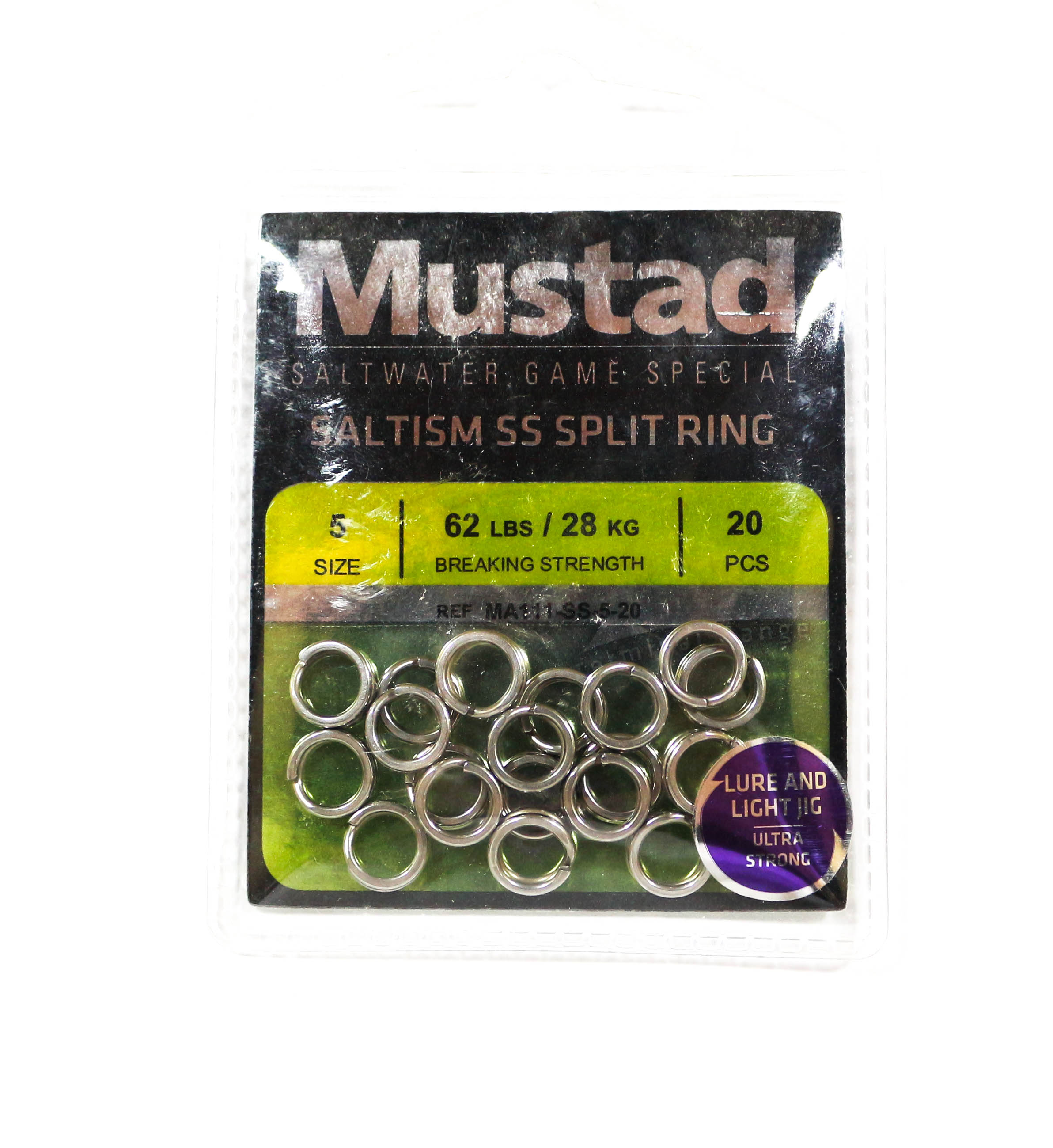 Mustad Saltism SS Split Ring Size 5 62lb 20 Pieces (5406)