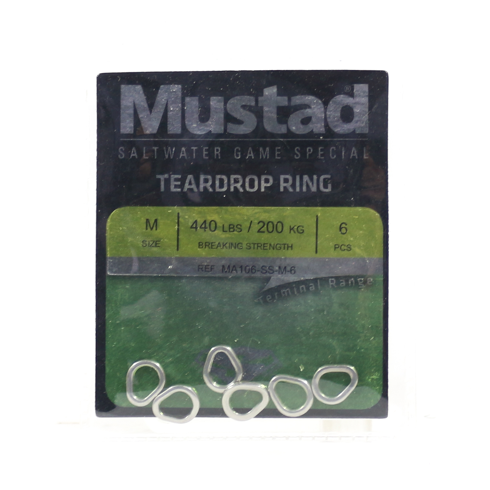 Mustad Solid Ring Teardrop Size M 440Lbs 6 pieces per pack (5276)