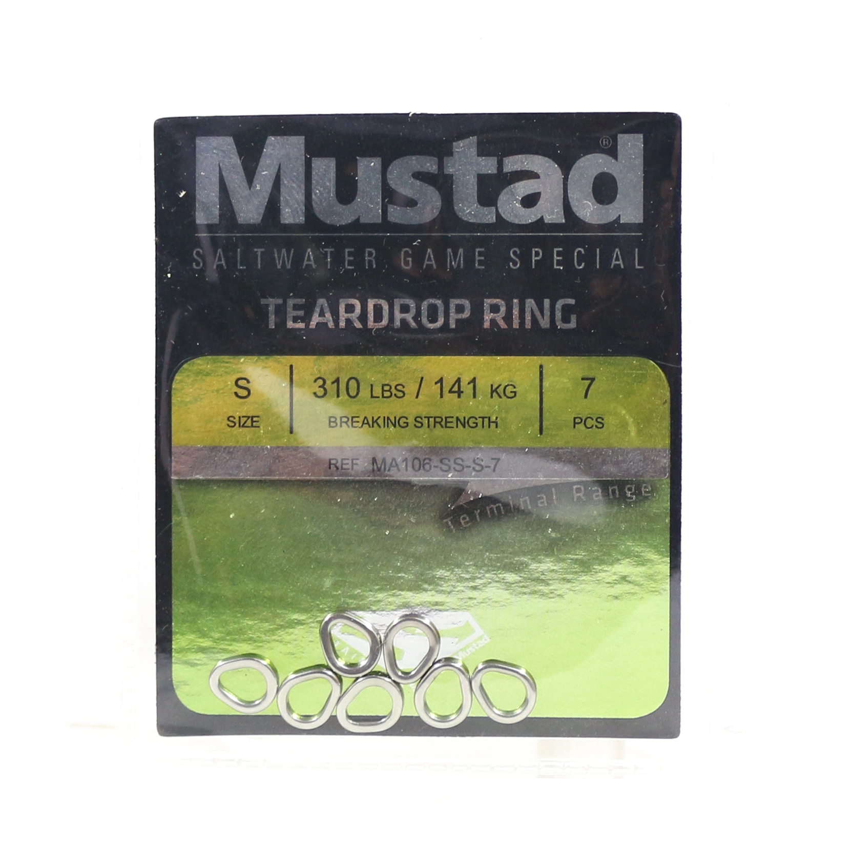 Mustad Solid Ring Teardrop Size S 310Lbs 7 pieces per pack (5306)