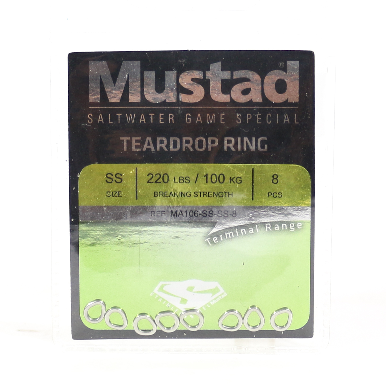 Mustad Solid Ring Teardrop Size SS 220Lbs 8 pieces per pack (5320)