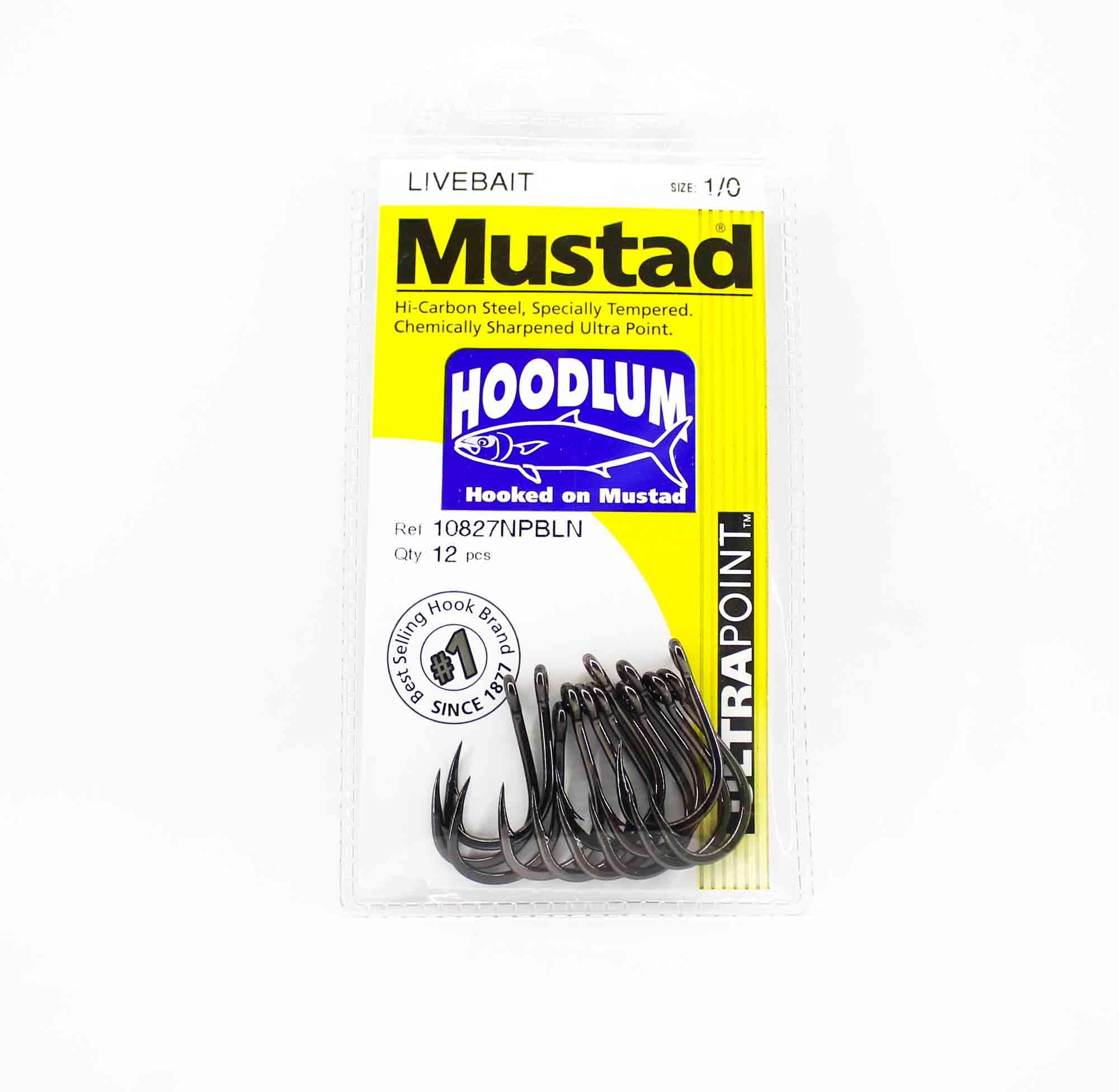 Mustad 10827NP-BLN-1/0-A12 Hoodlum Ultra Point Hooks Size 1/0 (7937)